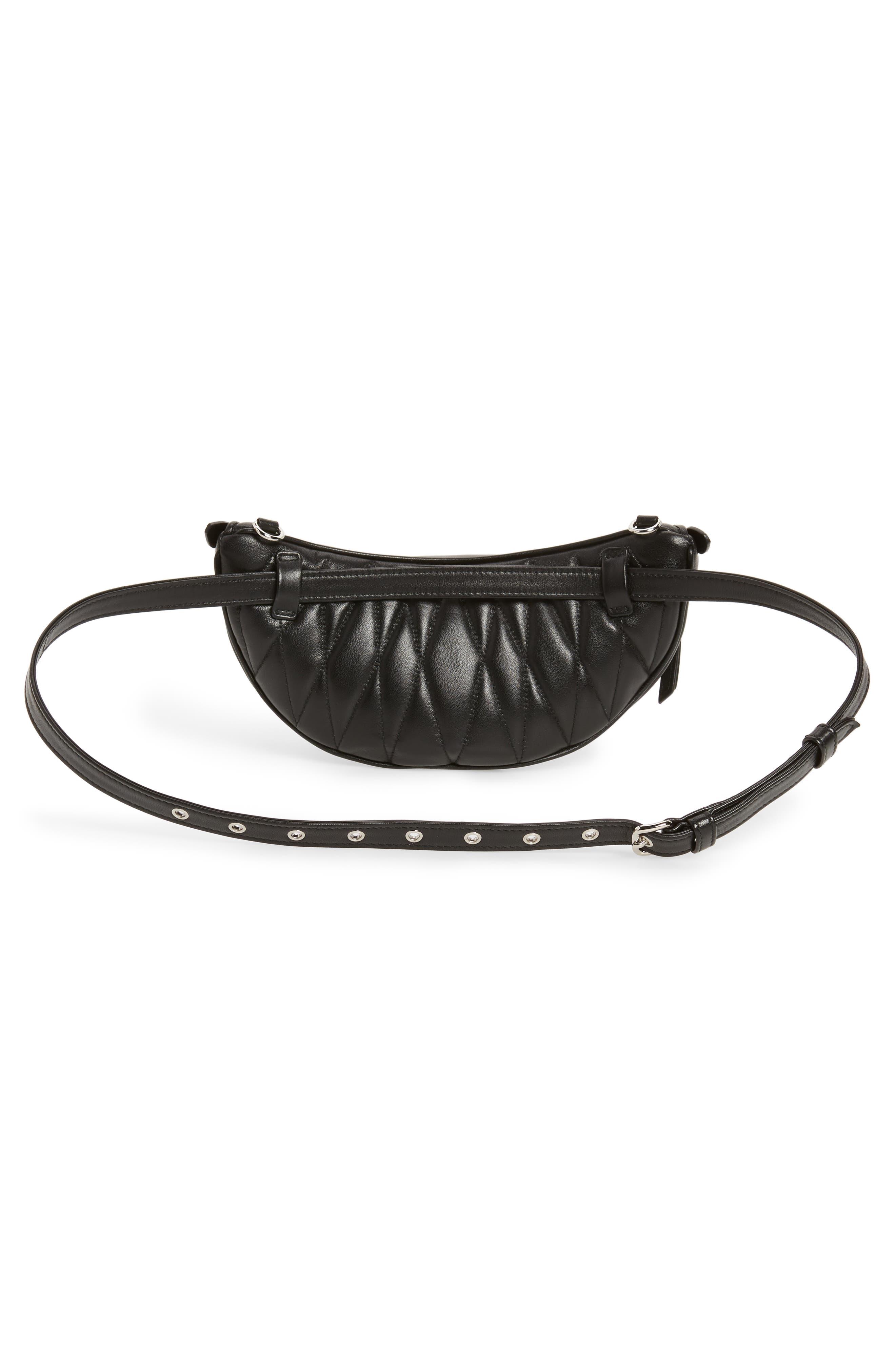 Studded Lambskin Leather Belt Bag,                             Alternate thumbnail 5, color,                             NERO