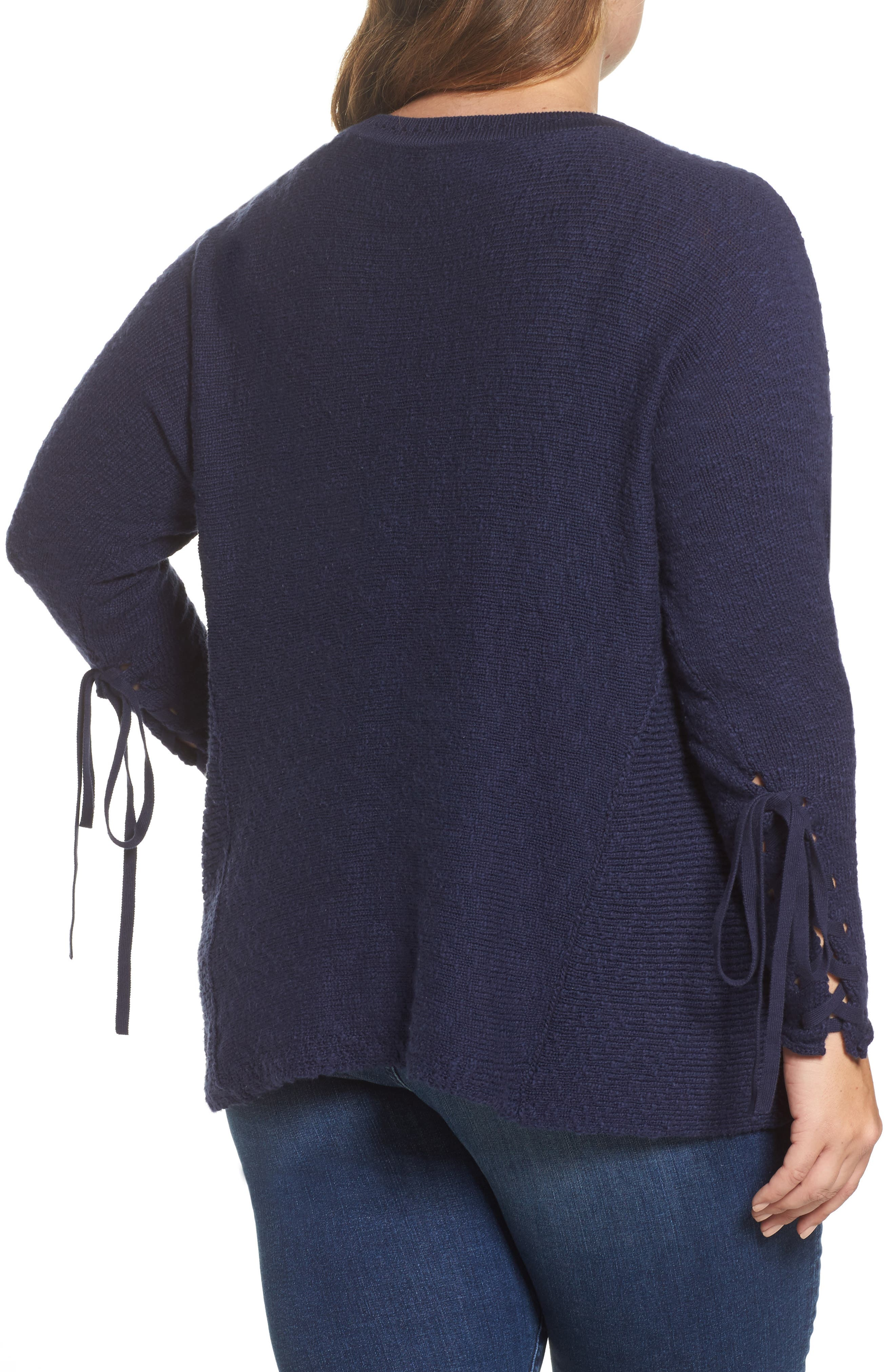Mix Stitch Tie Sleeve Sweater,                             Alternate thumbnail 2, color,                             410