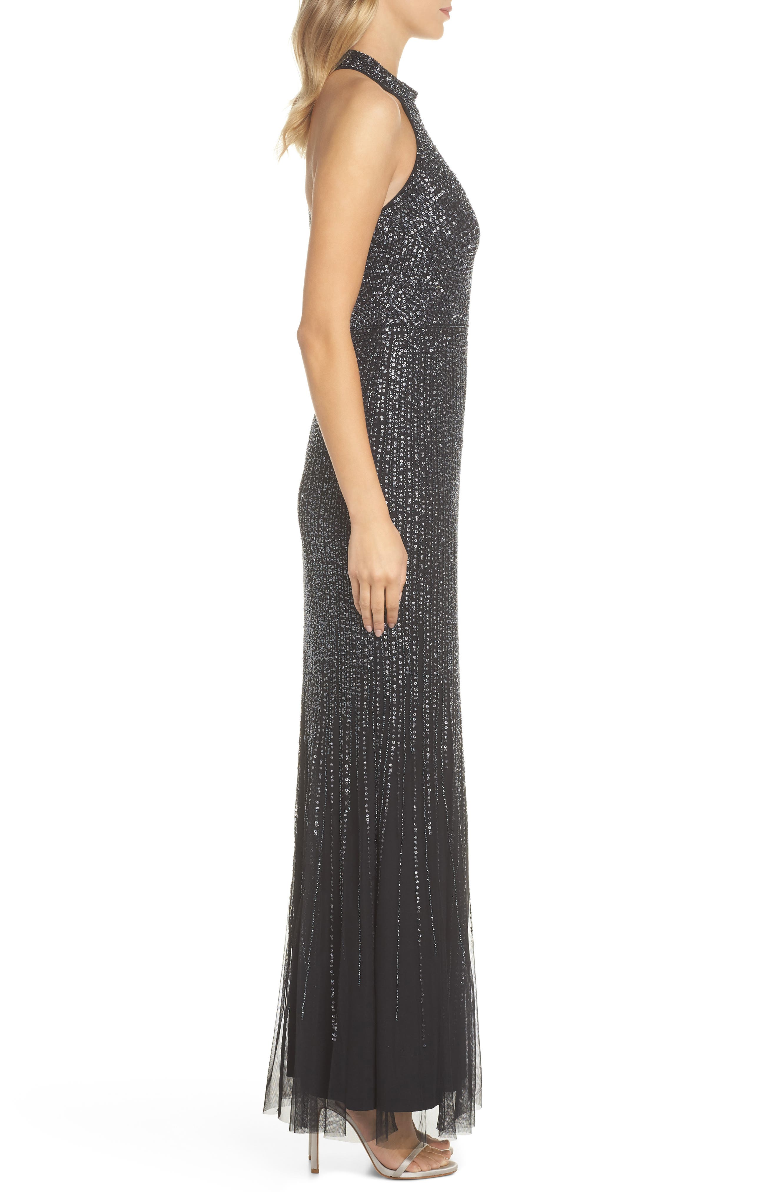 ADRIANNA PAPELL,                             Beaded Halter Gown,                             Alternate thumbnail 3, color,                             001