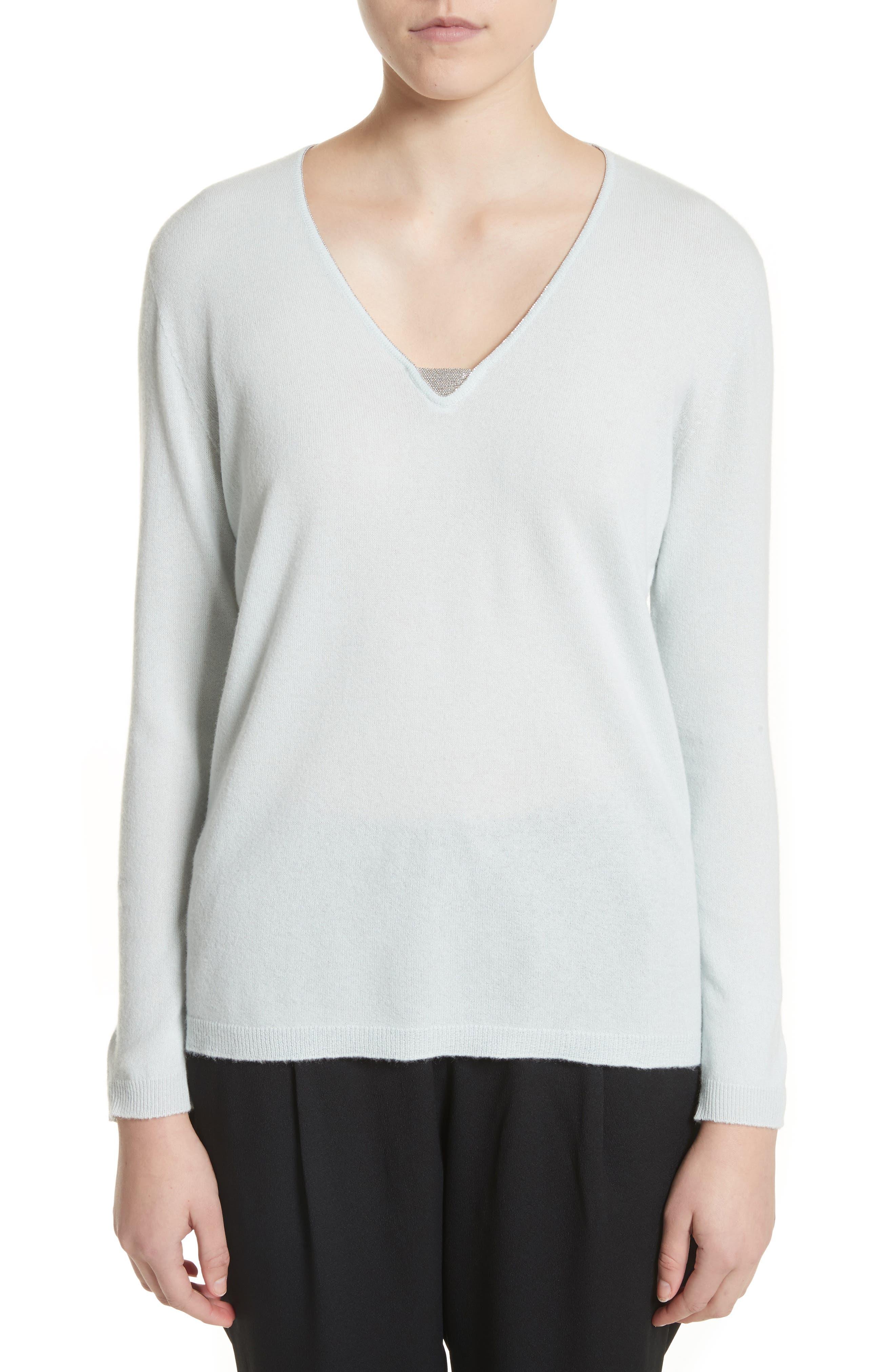 V-Neck Cashmere Sweater,                             Main thumbnail 1, color,