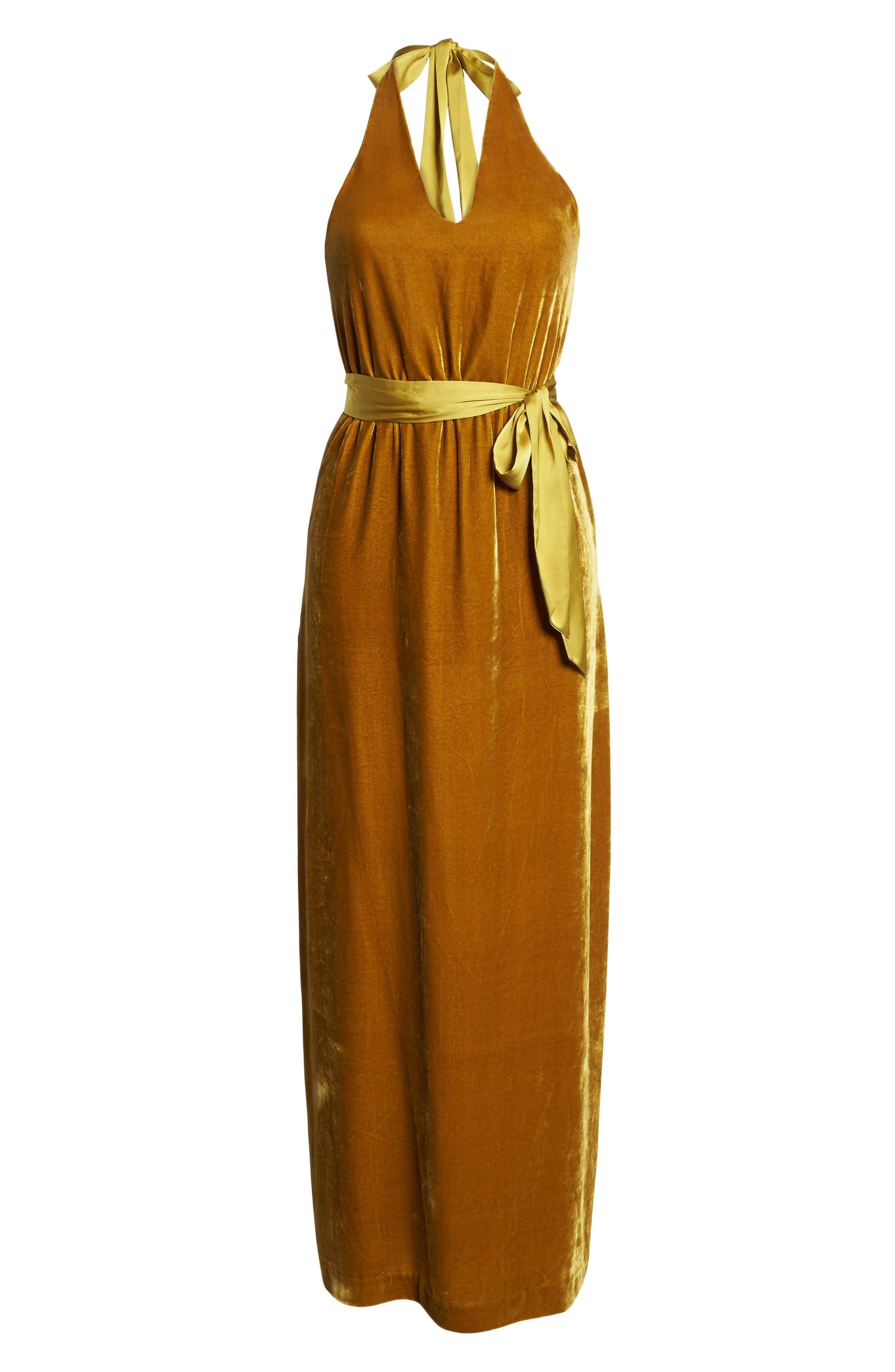 Velvet Halter Maxi Dress,                             Alternate thumbnail 7, color,                             720