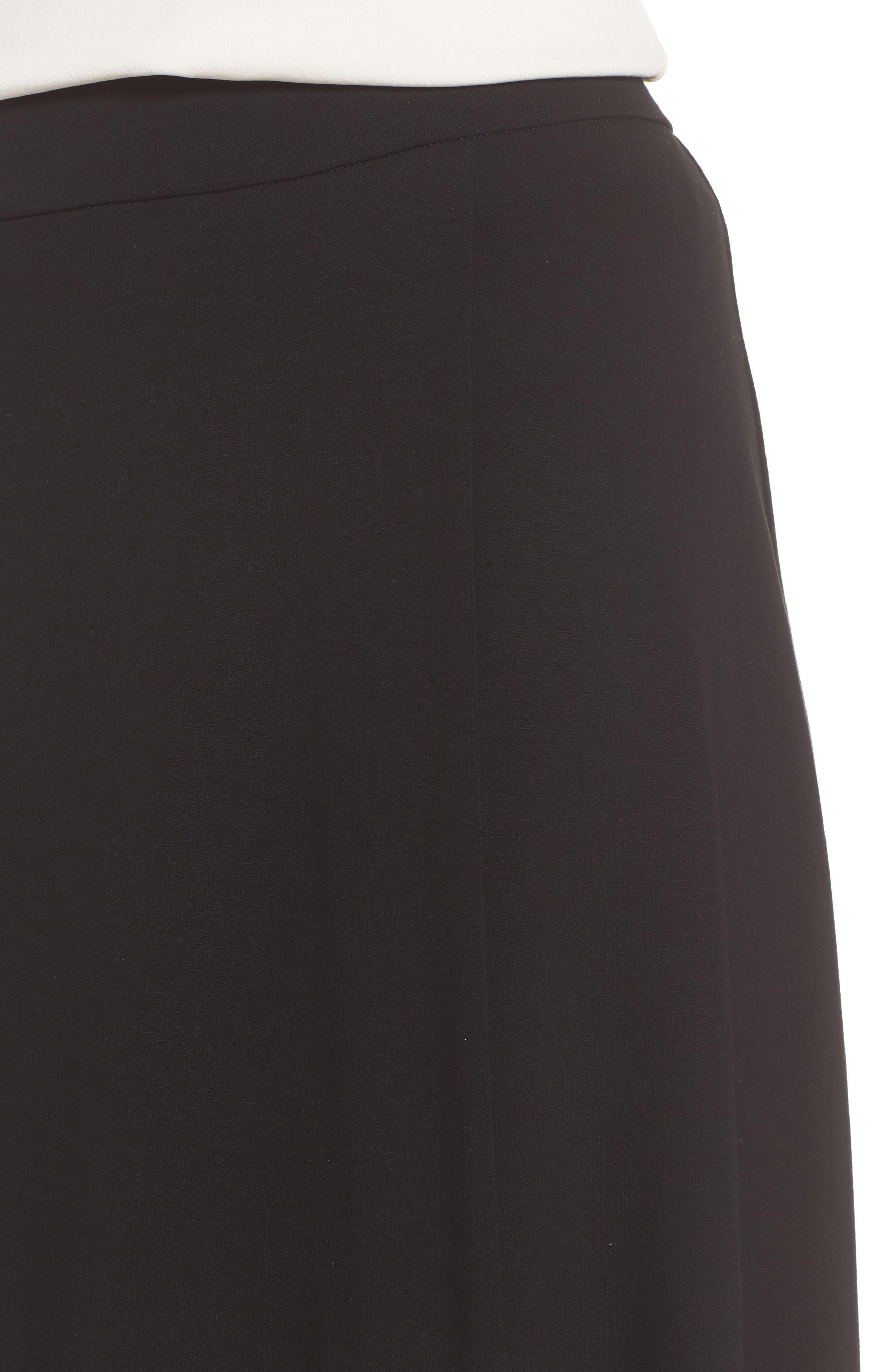 Faux Wrap Jersey Skirt,                             Alternate thumbnail 4, color,                             001
