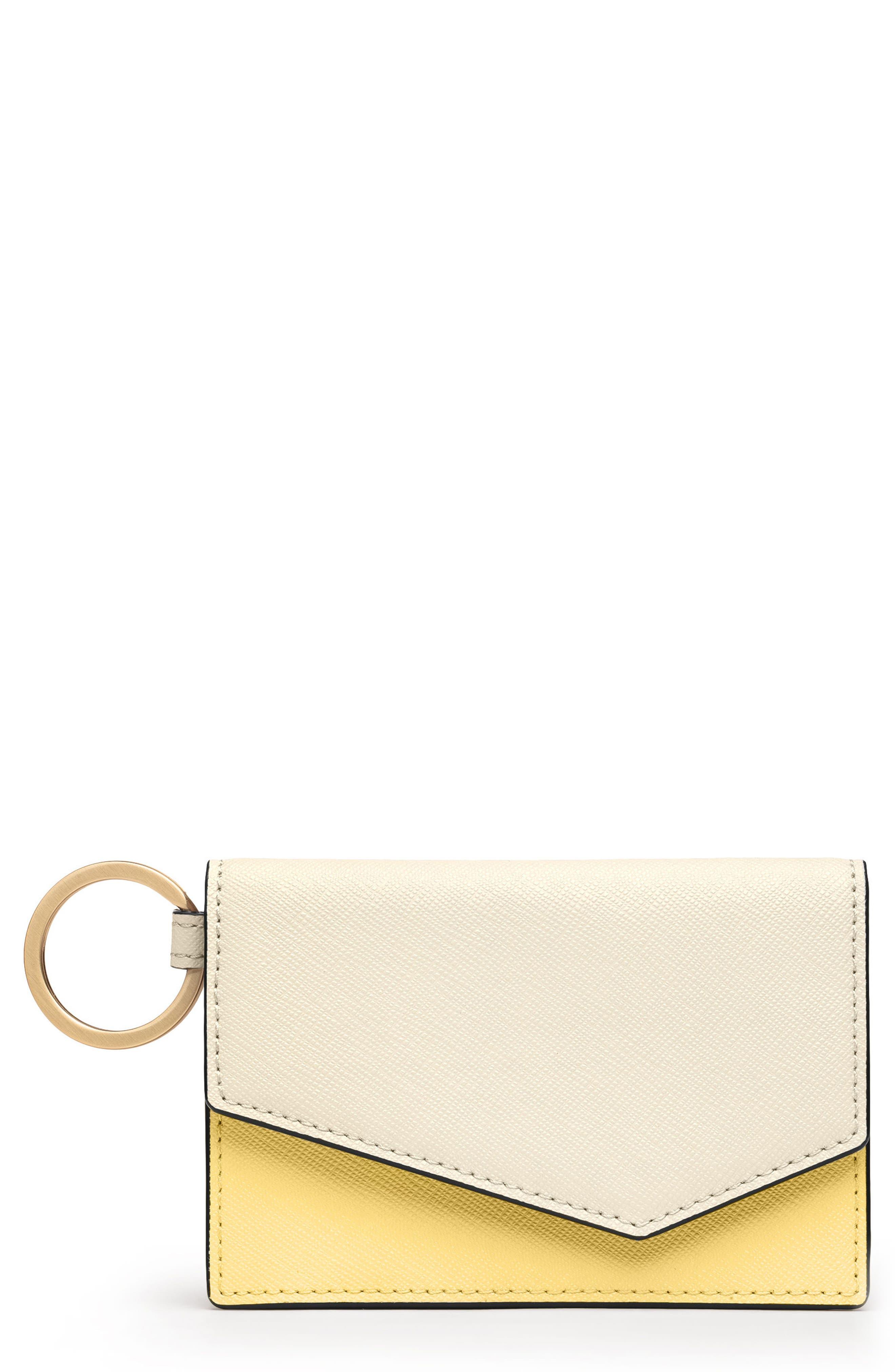 Cobble Hill Saffiano Leather Card Case,                         Main,                         color, CREAM COLORBLOCK