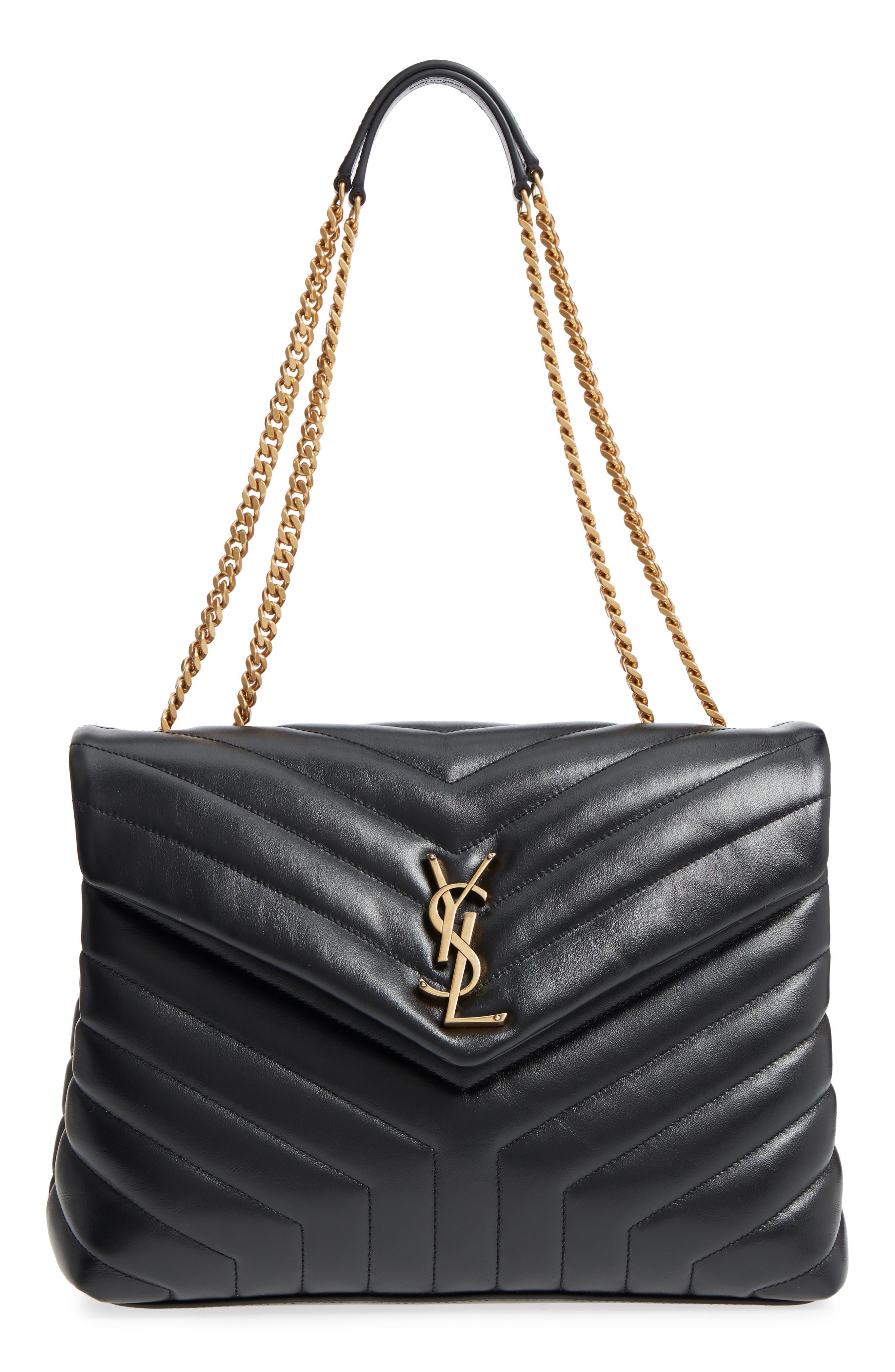 Medium Loulou Matelassé Calfskin Leather Shoulder Bag,                             Main thumbnail 1, color,                             NOIR/ GOLD