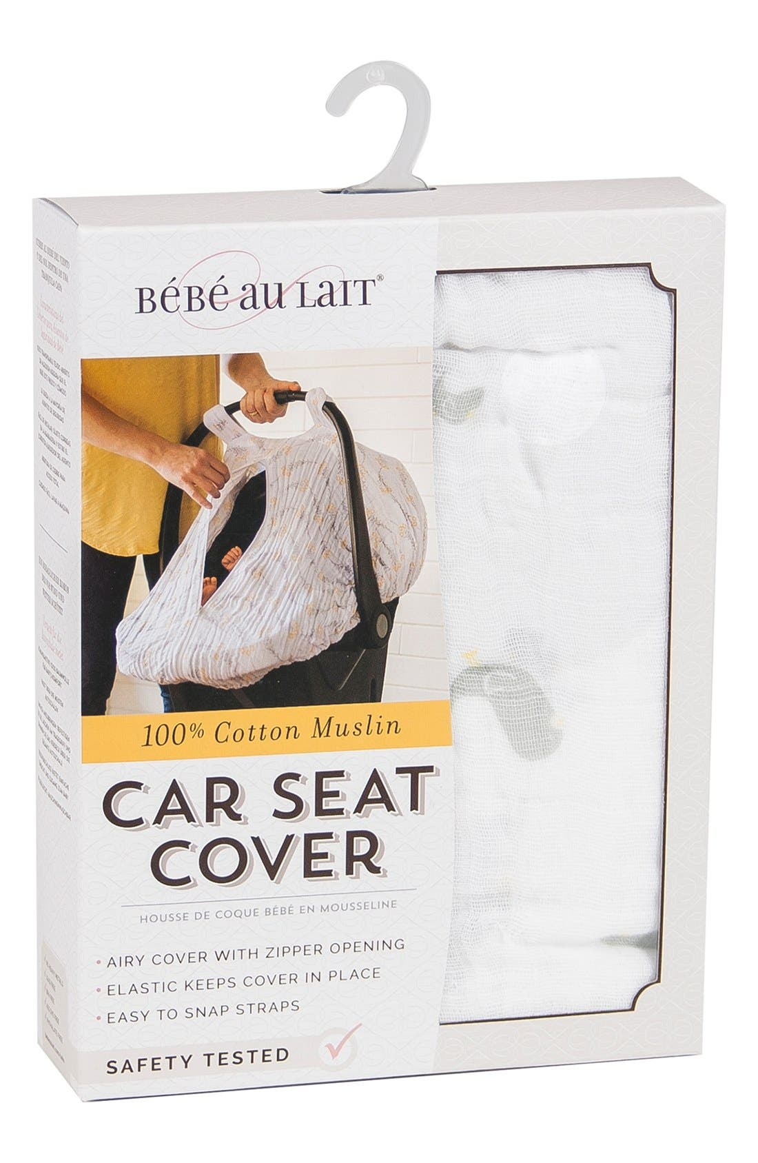 Muslin Car Seat Cover,                             Alternate thumbnail 4, color,                             101