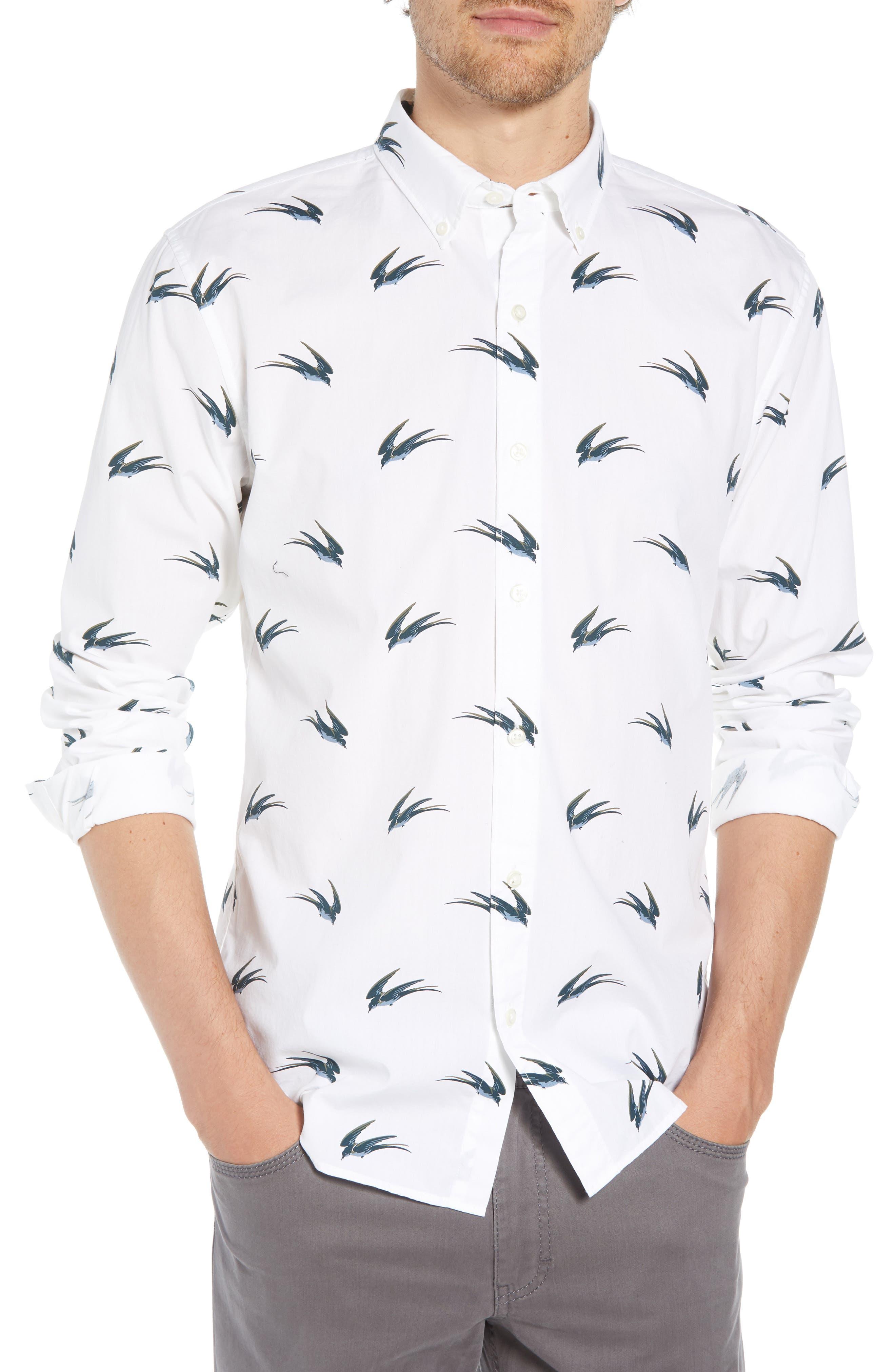 Summerweight Slim Fit Swallow Print Sport Shirt,                         Main,                         color, SWALLOW HOLLOW - VIRIDIEN