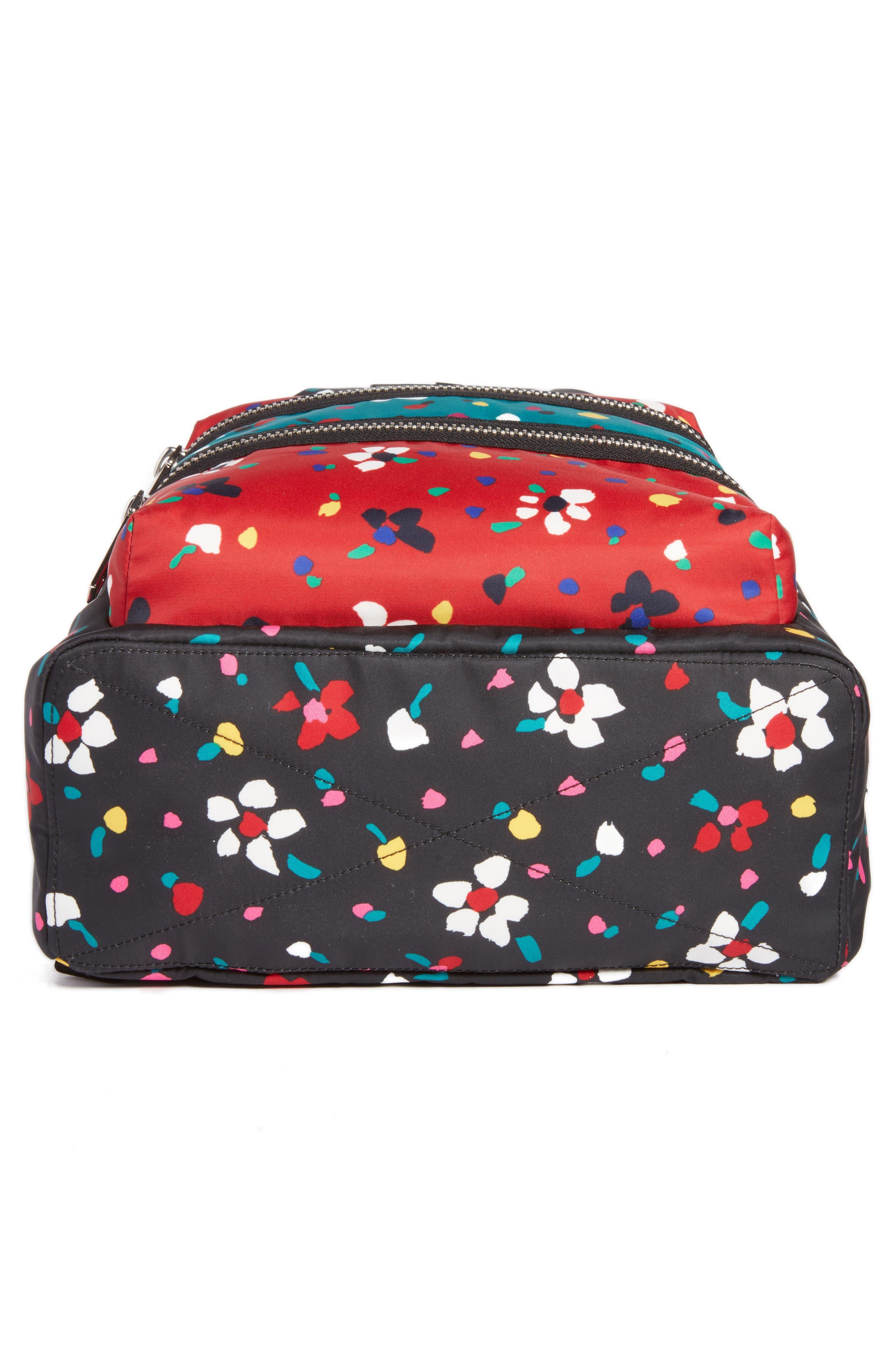 Biker Floral Print Backpack,                             Alternate thumbnail 6, color,                             002