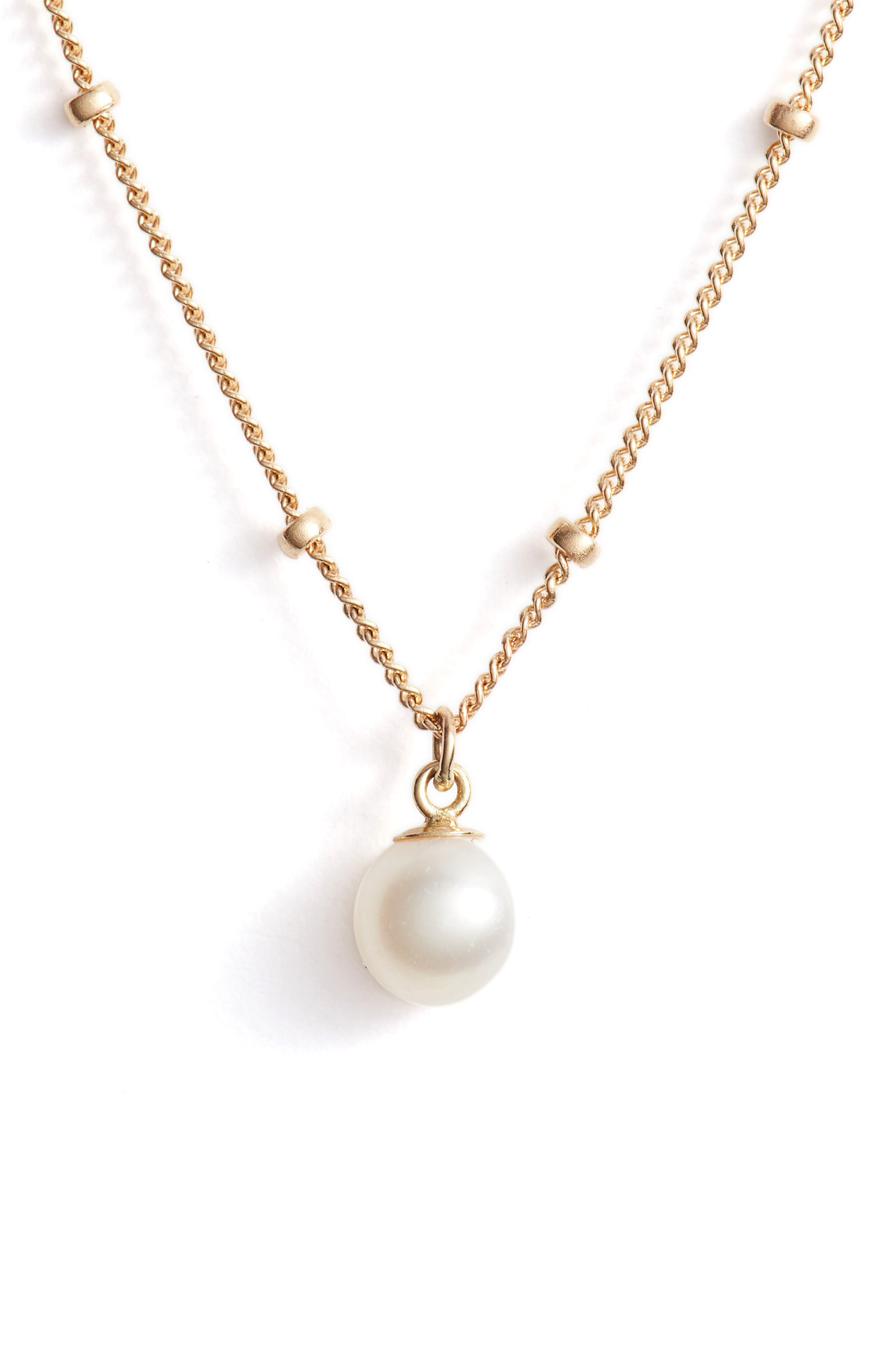 Baby Pearl Bead Choker Necklace,                         Main,                         color, YELLOW GOLD/ WHITE PEARL