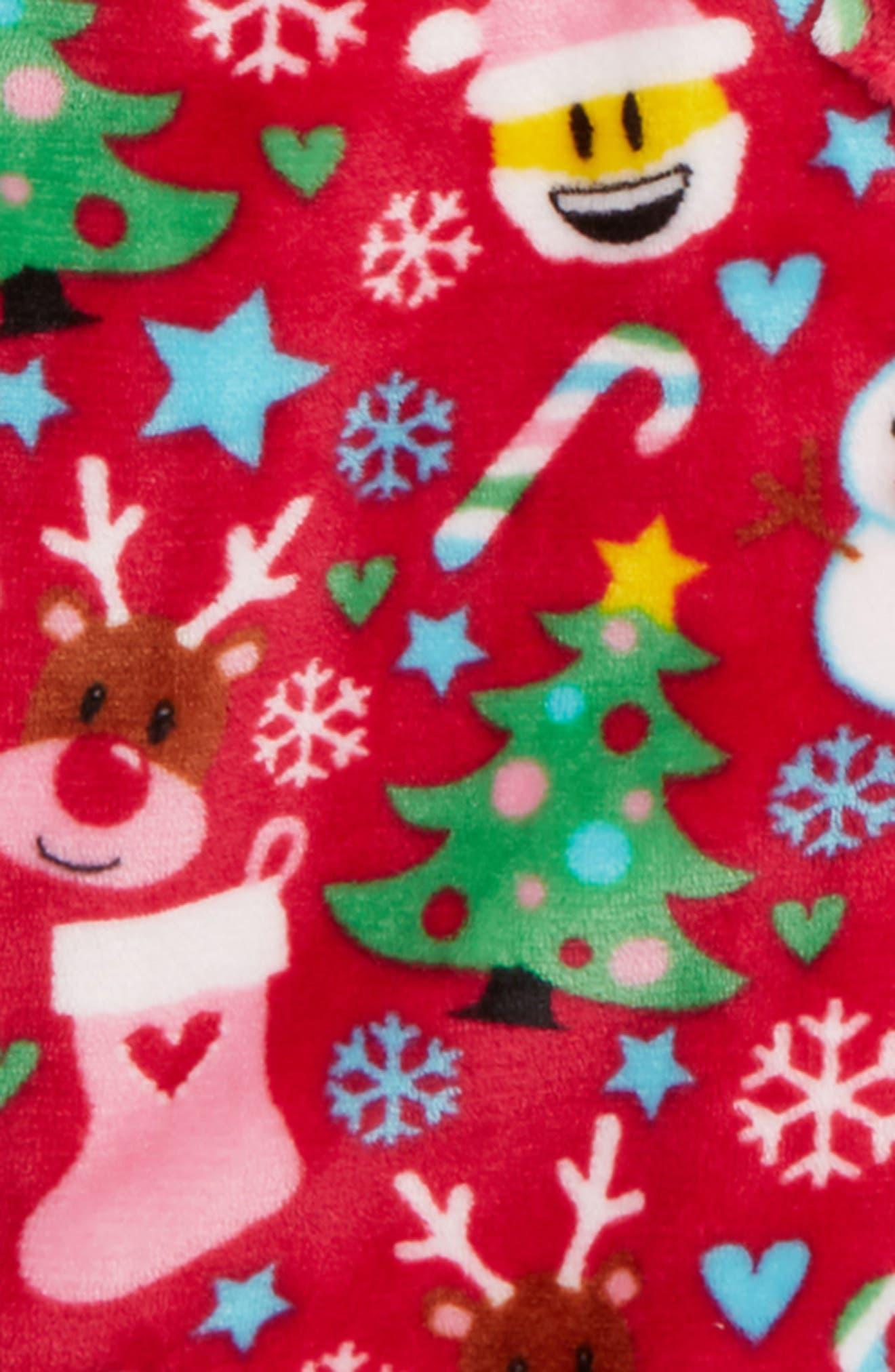 Holiday Fleece Robe,                             Alternate thumbnail 2, color,                             XMAS RED