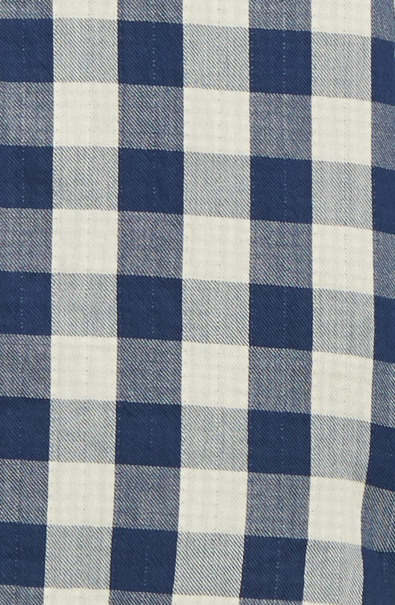 Utility Trim Fit Duofold Sport Shirt,                             Alternate thumbnail 6, color,                             NAVY WHITE BUFFALO GINGHAM