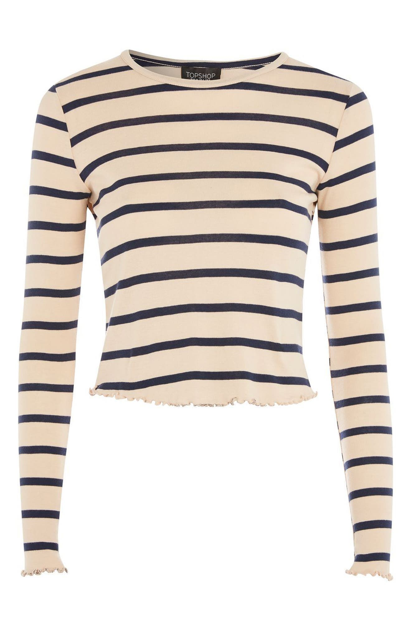 Petite Stripe Lettuce Trim T-Shirt,                             Alternate thumbnail 3, color,                             251