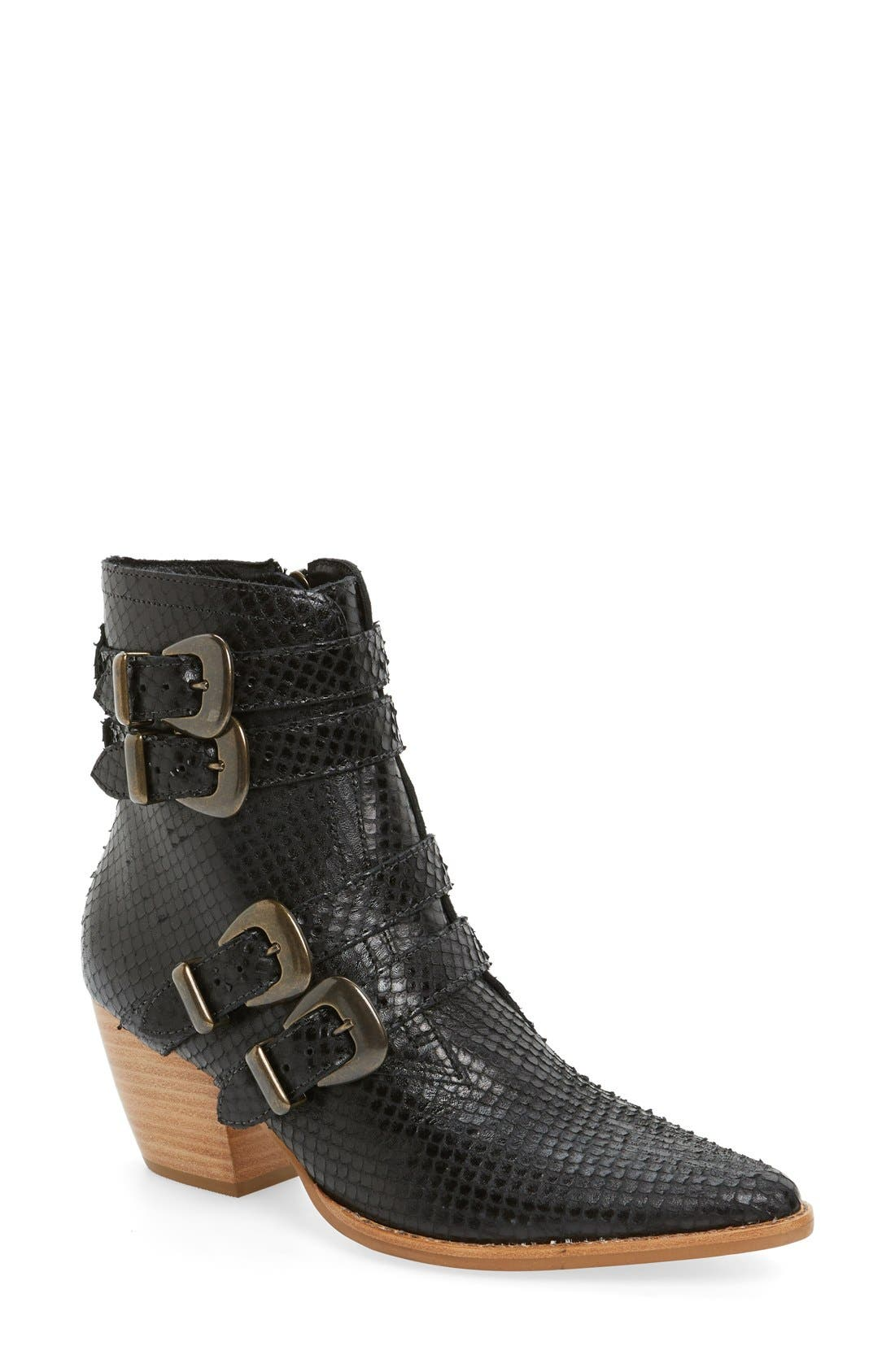 'Harvey' Embossed Buckle Boot, Main, color, 001