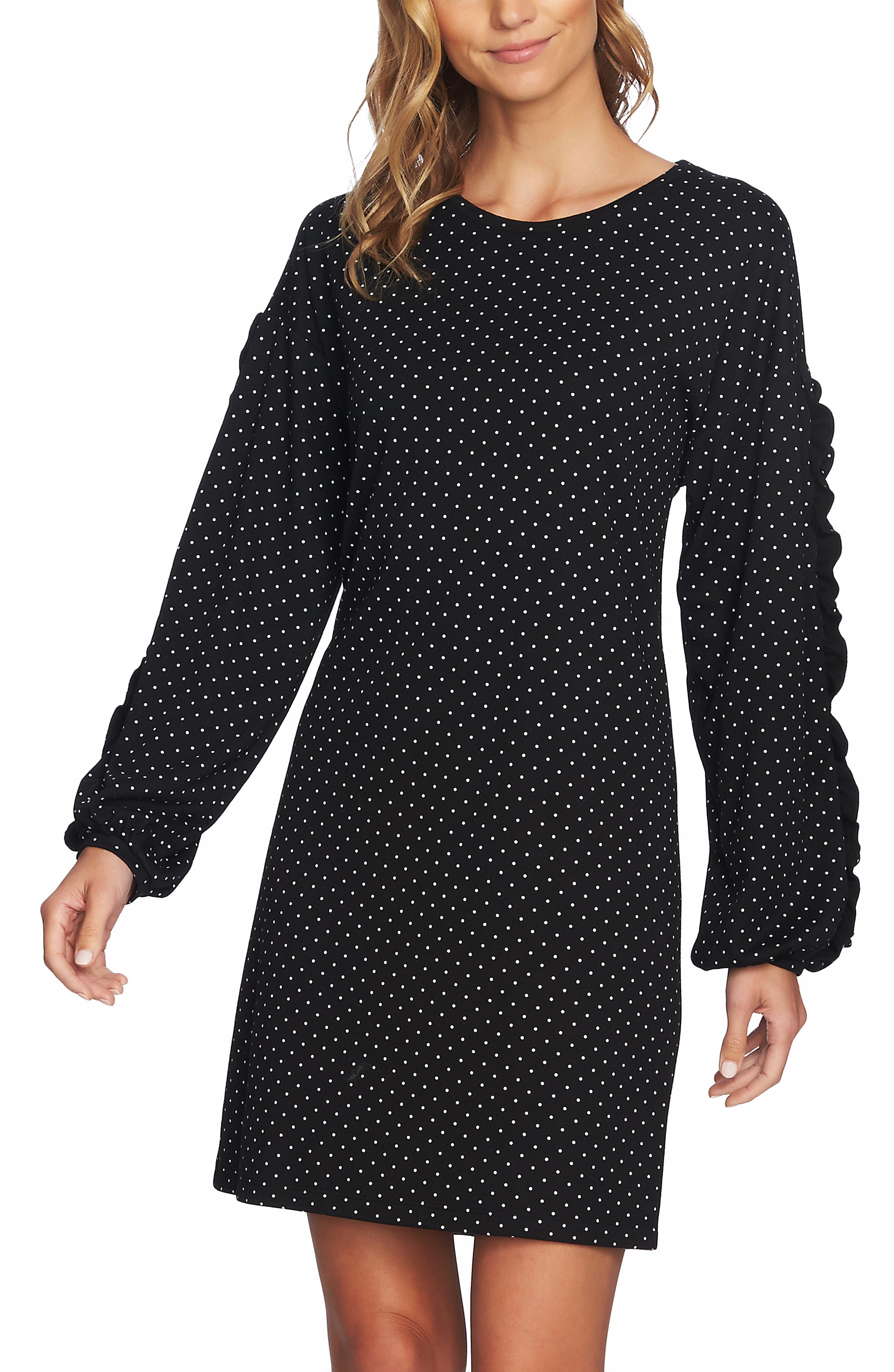 Pin Dot Ruffle Sleeve Dress,                             Alternate thumbnail 5, color,                             RICH BLACK