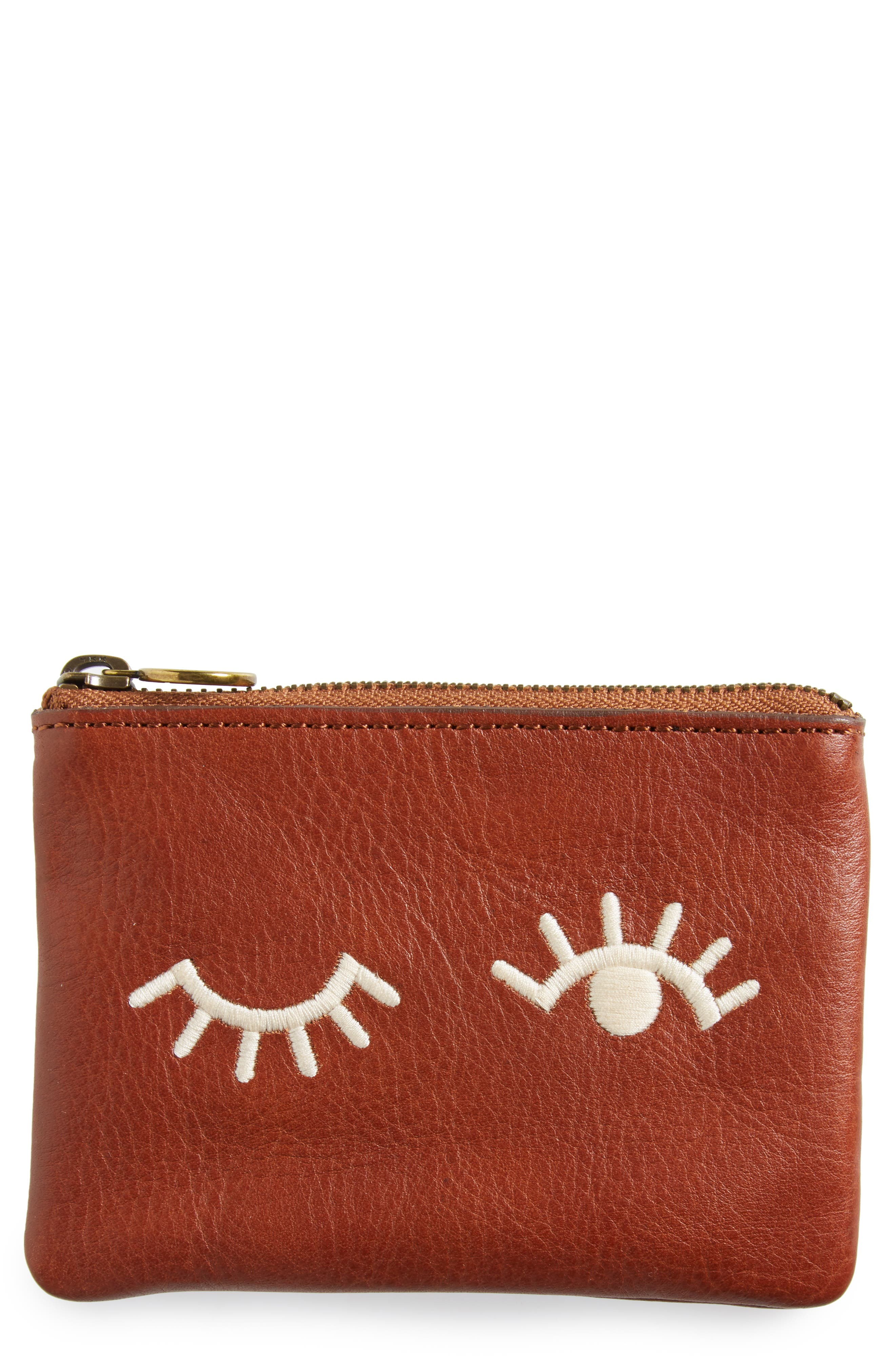 The Small Pouch Clutch: Embroidered Face Edition,                             Main thumbnail 1, color,                             200