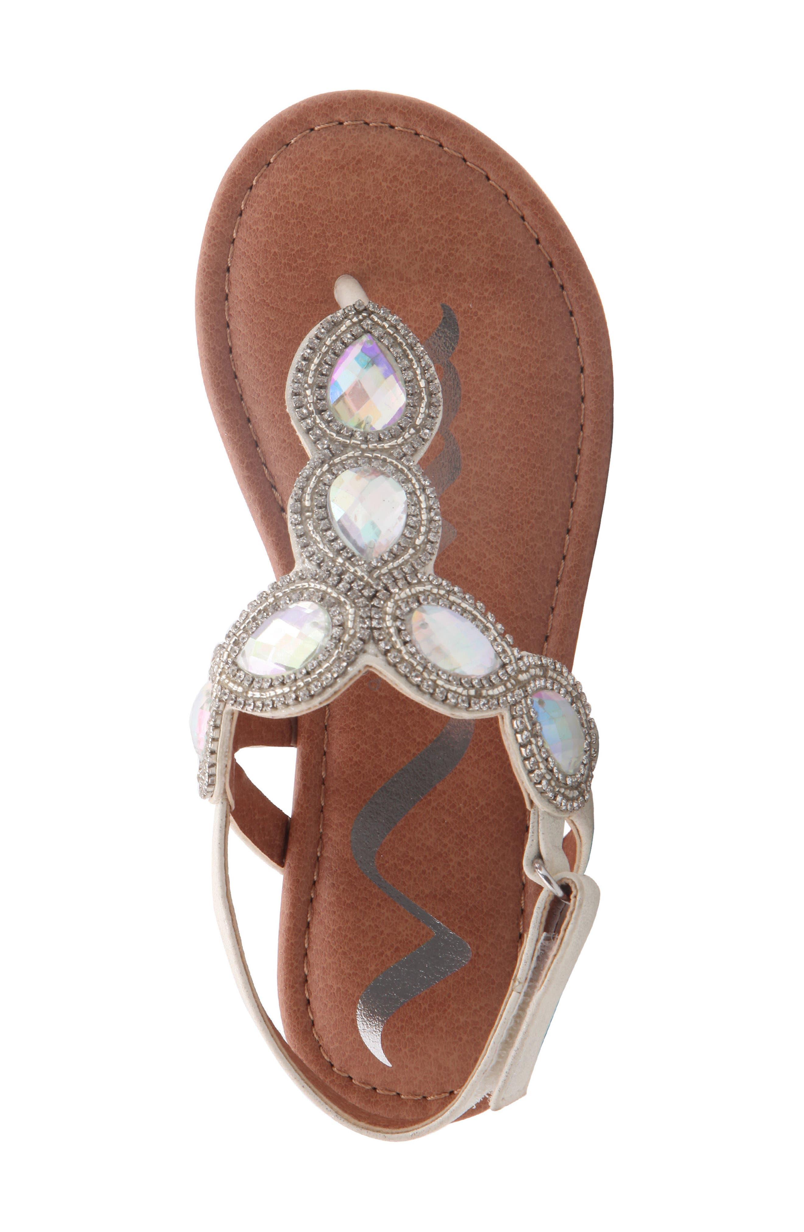Elicia Embellished T-Strap Sandal,                             Alternate thumbnail 5, color,                             SILVER METALLIC