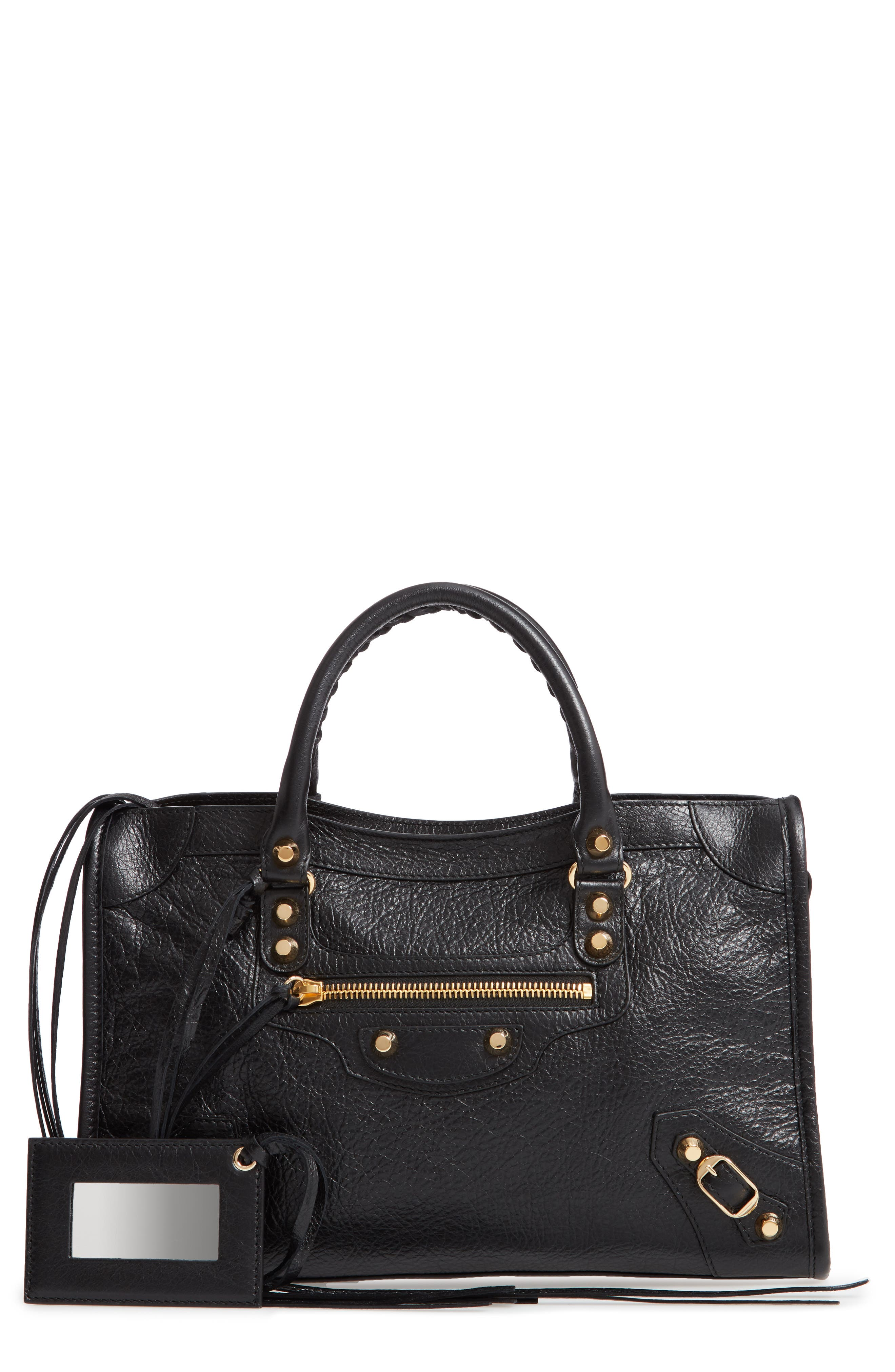Small Arena City Lambskin Leather Tote,                         Main,                         color, NOIR