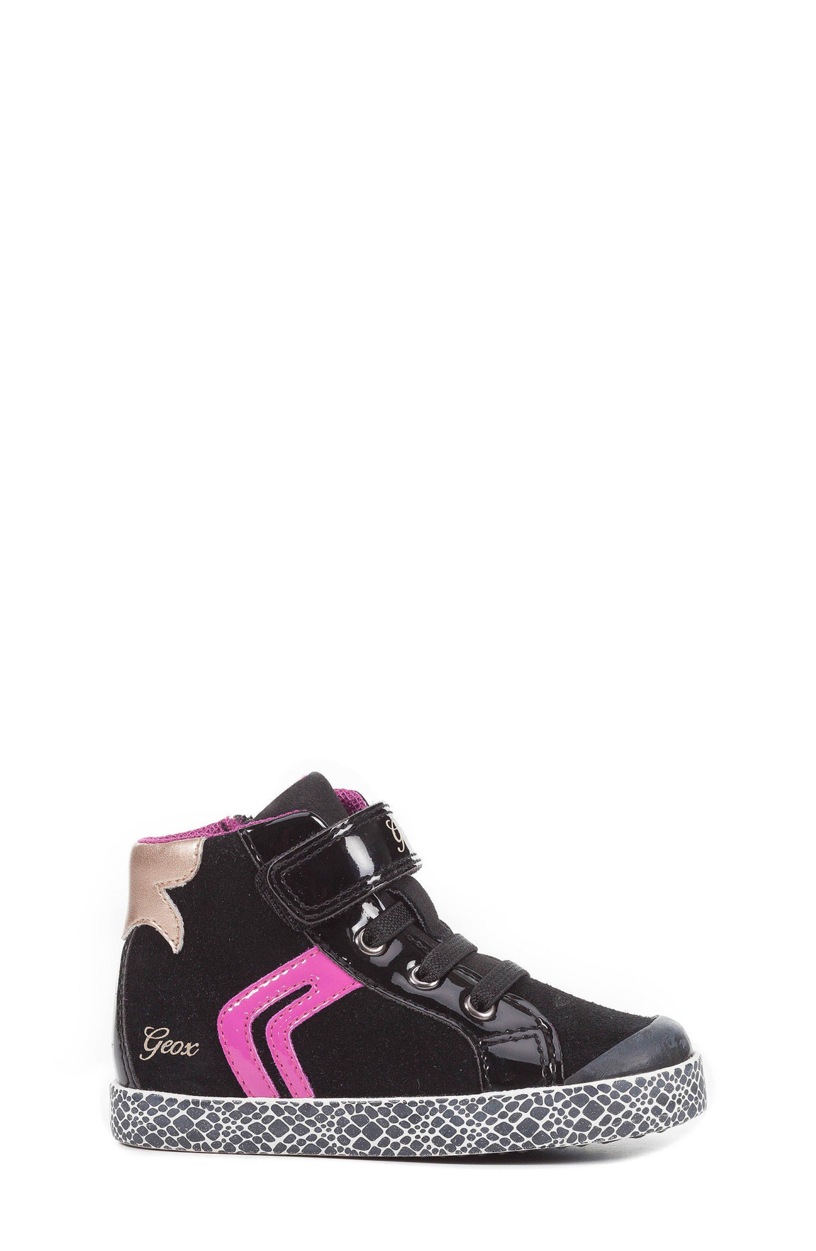 GEOX,                             Kiwi Girl High Top Sneaker,                             Alternate thumbnail 3, color,                             001