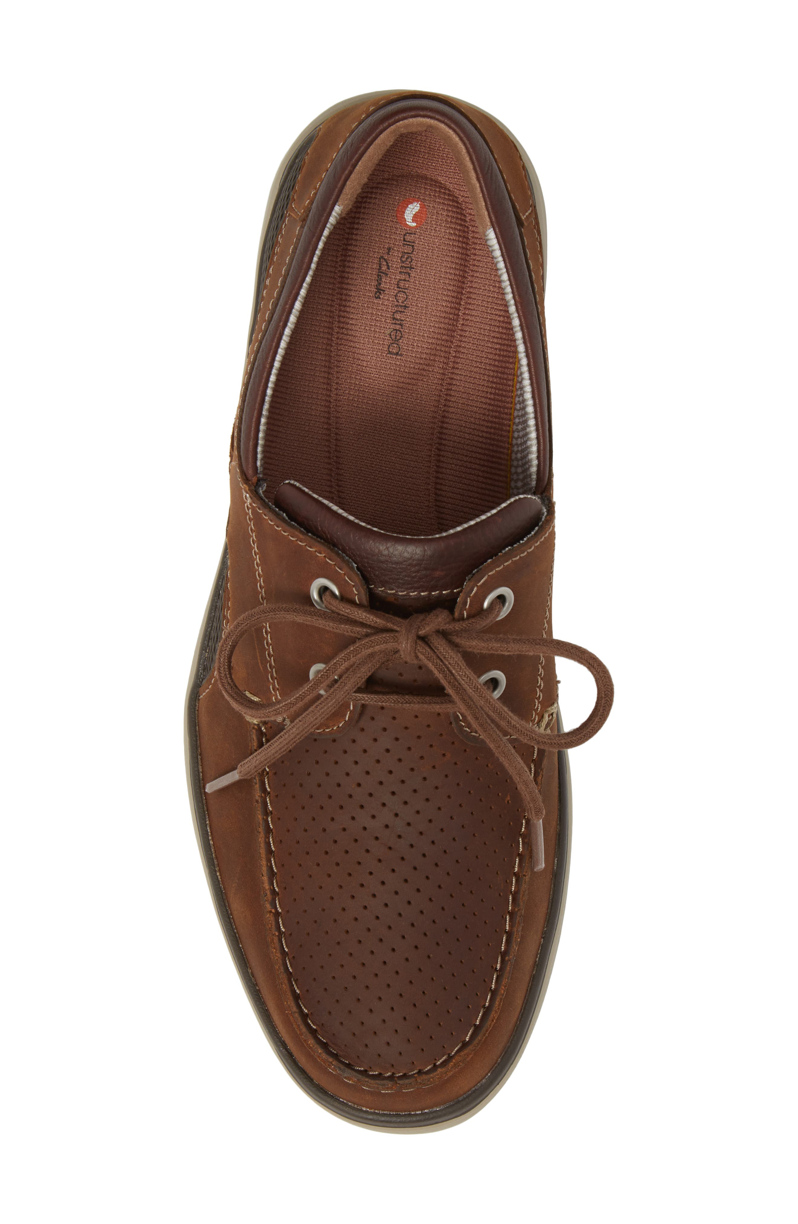 Clarks<sup>®</sup> Unabobe Step Boat Shoe,                             Alternate thumbnail 5, color,                             DARK TAN LEATHER