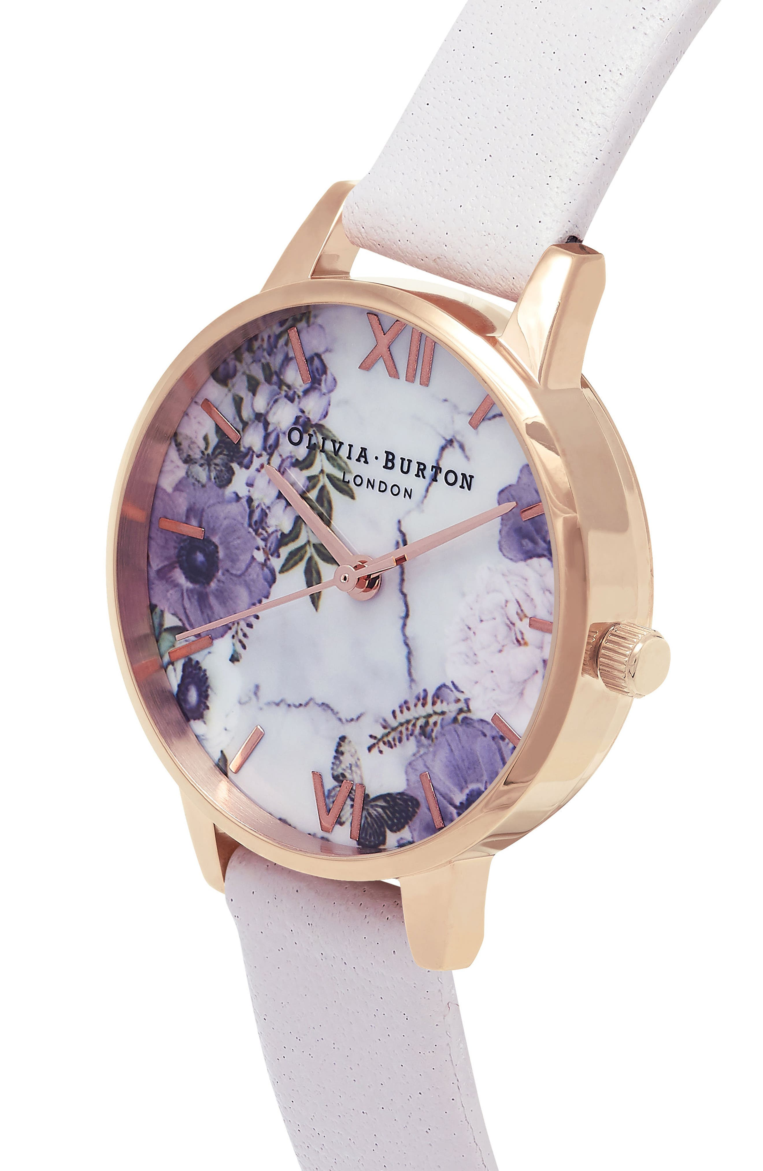 Marble Floral Leather Strap Watch, 30mm,                             Alternate thumbnail 3, color,                             110