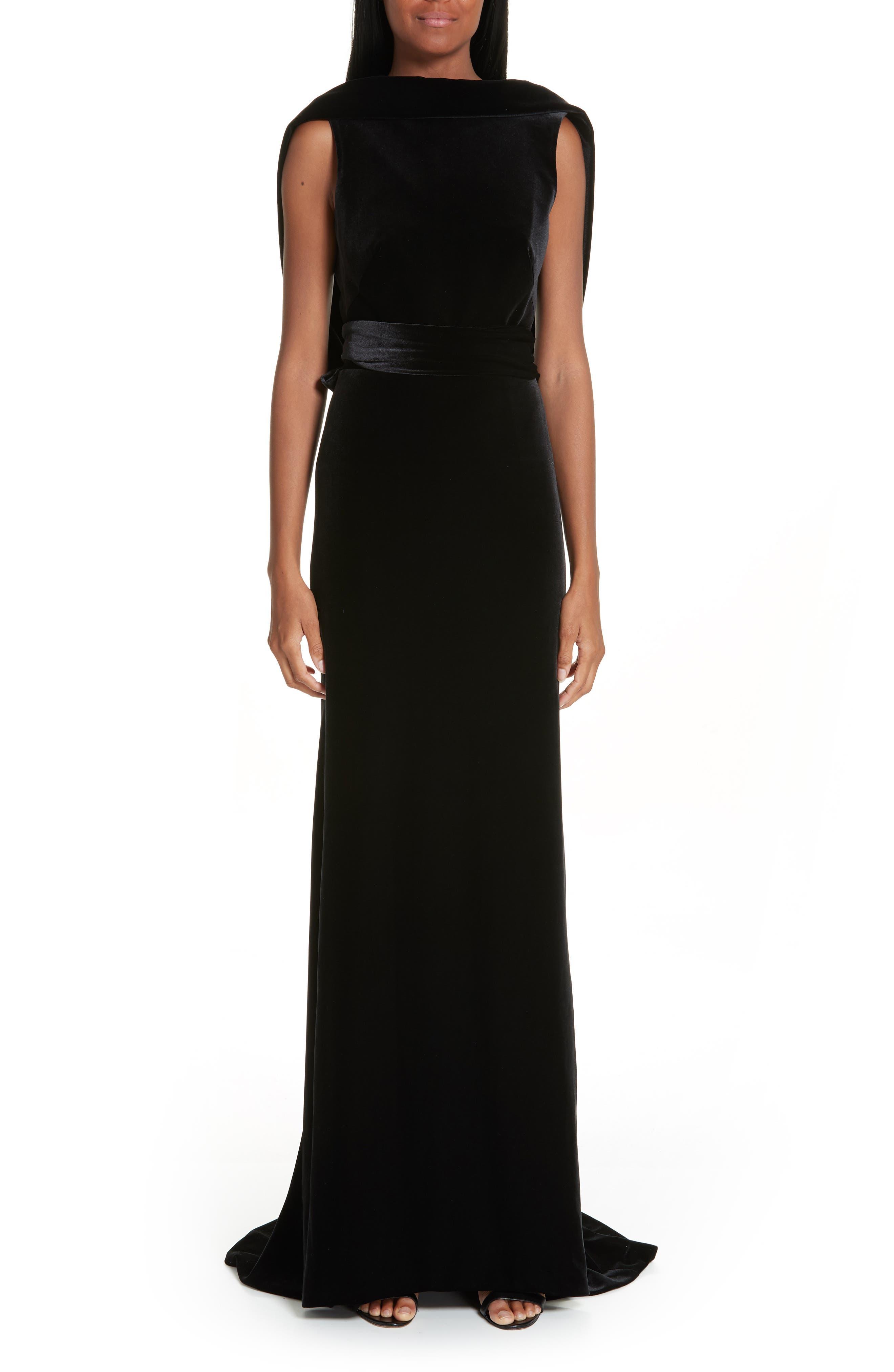 BRANDON MAXWELL Sleeveless Drape-Back Column Evening Gown in Black