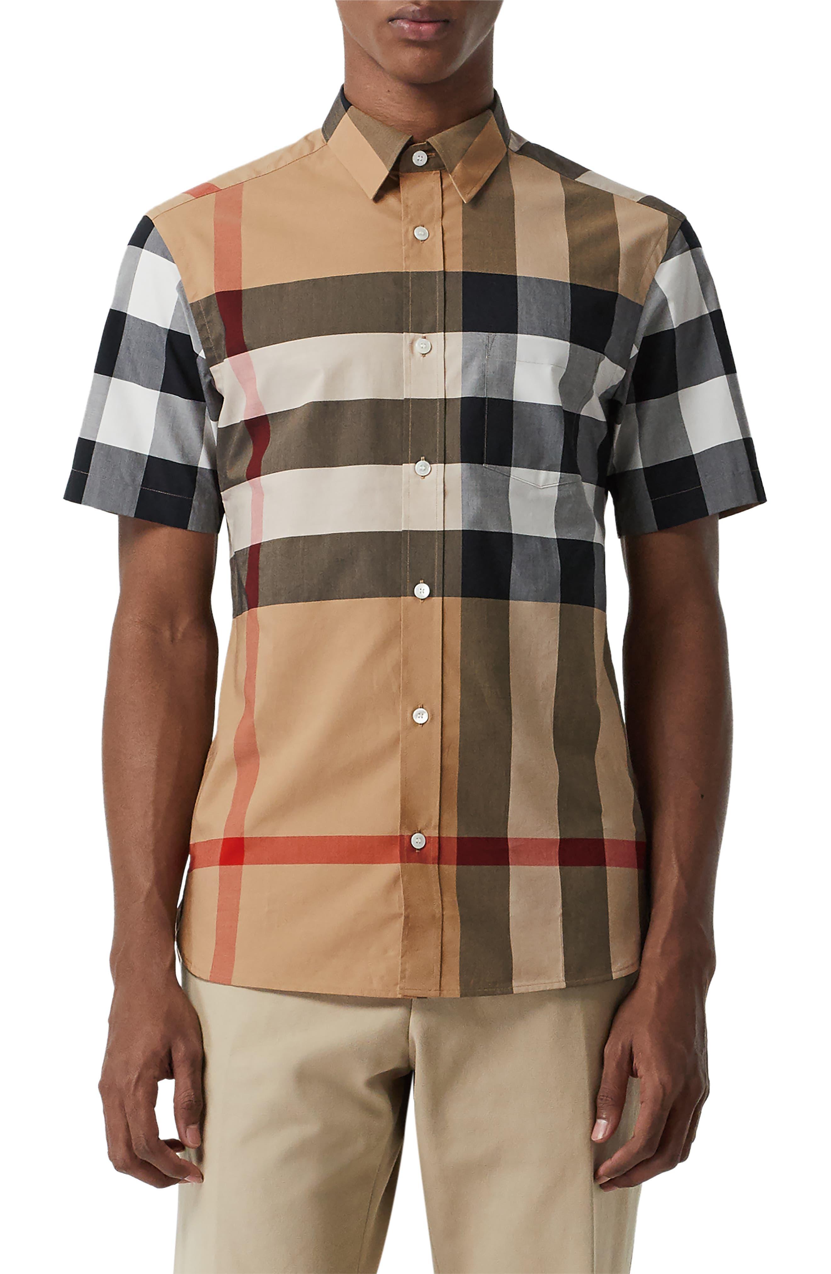 BURBERRY,                             Windsor Plaid Shirt,                             Main thumbnail 1, color,                             CAMEL