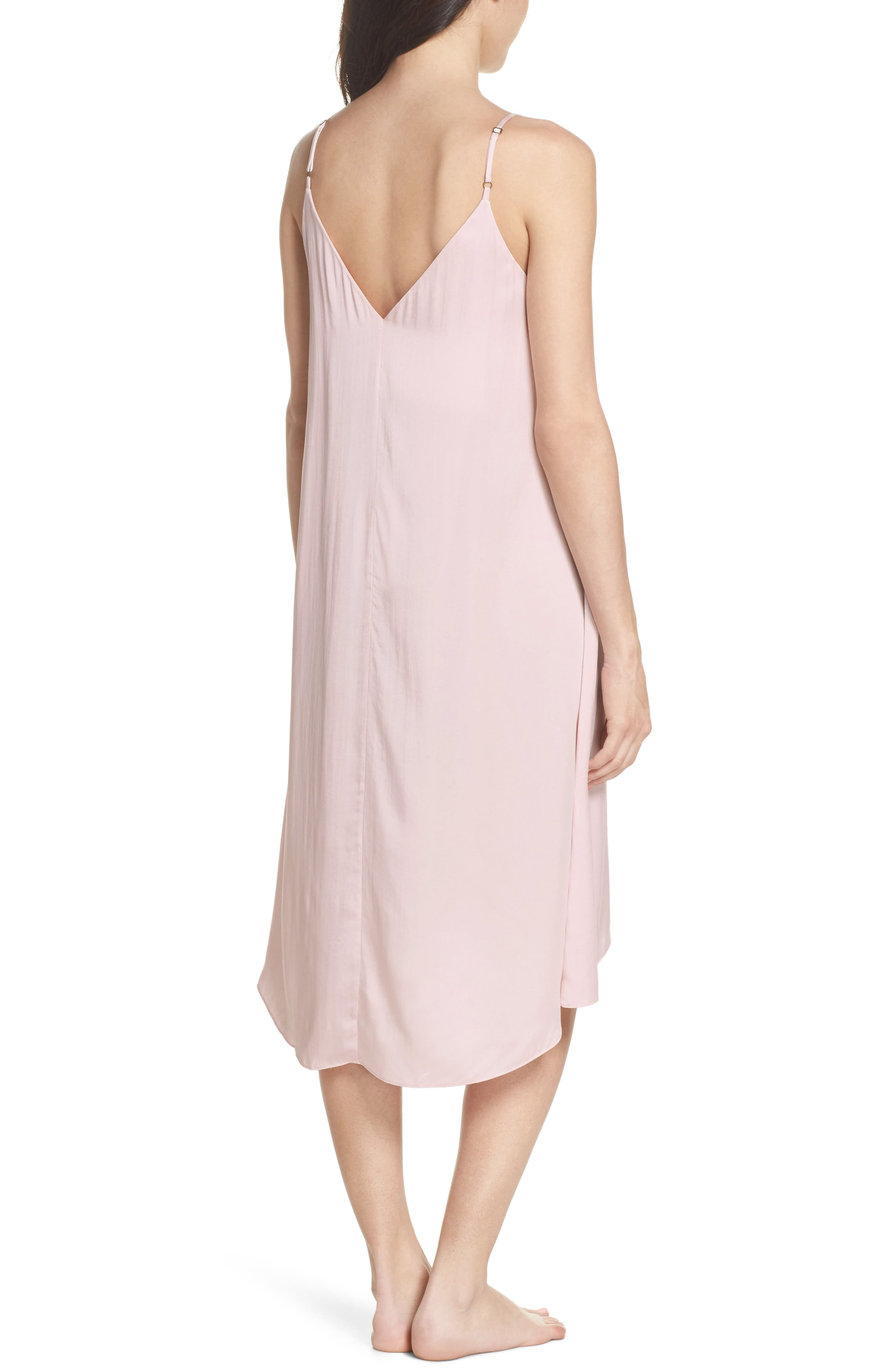 Silk Nightgown,                             Alternate thumbnail 2, color,                             ICE PINK