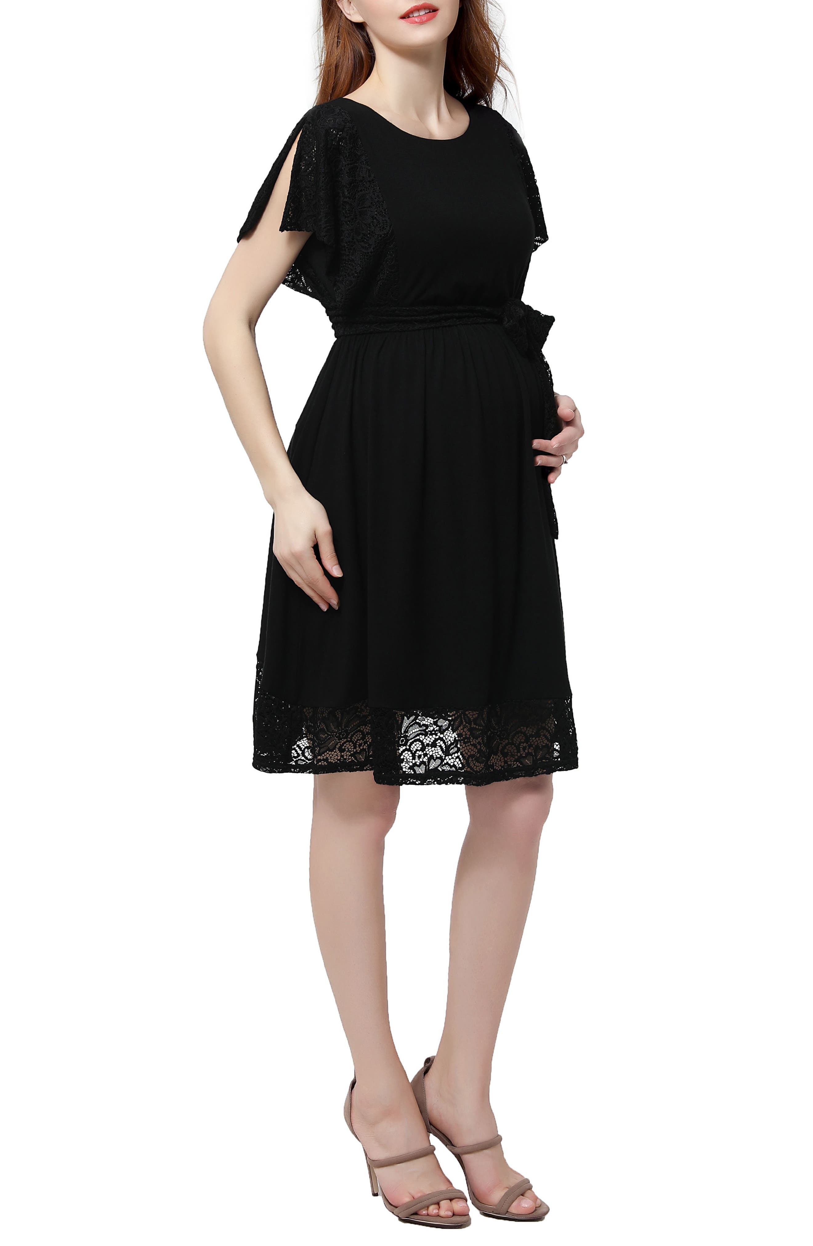 Alison Lace Trim Maternity Dress,                             Alternate thumbnail 3, color,                             001