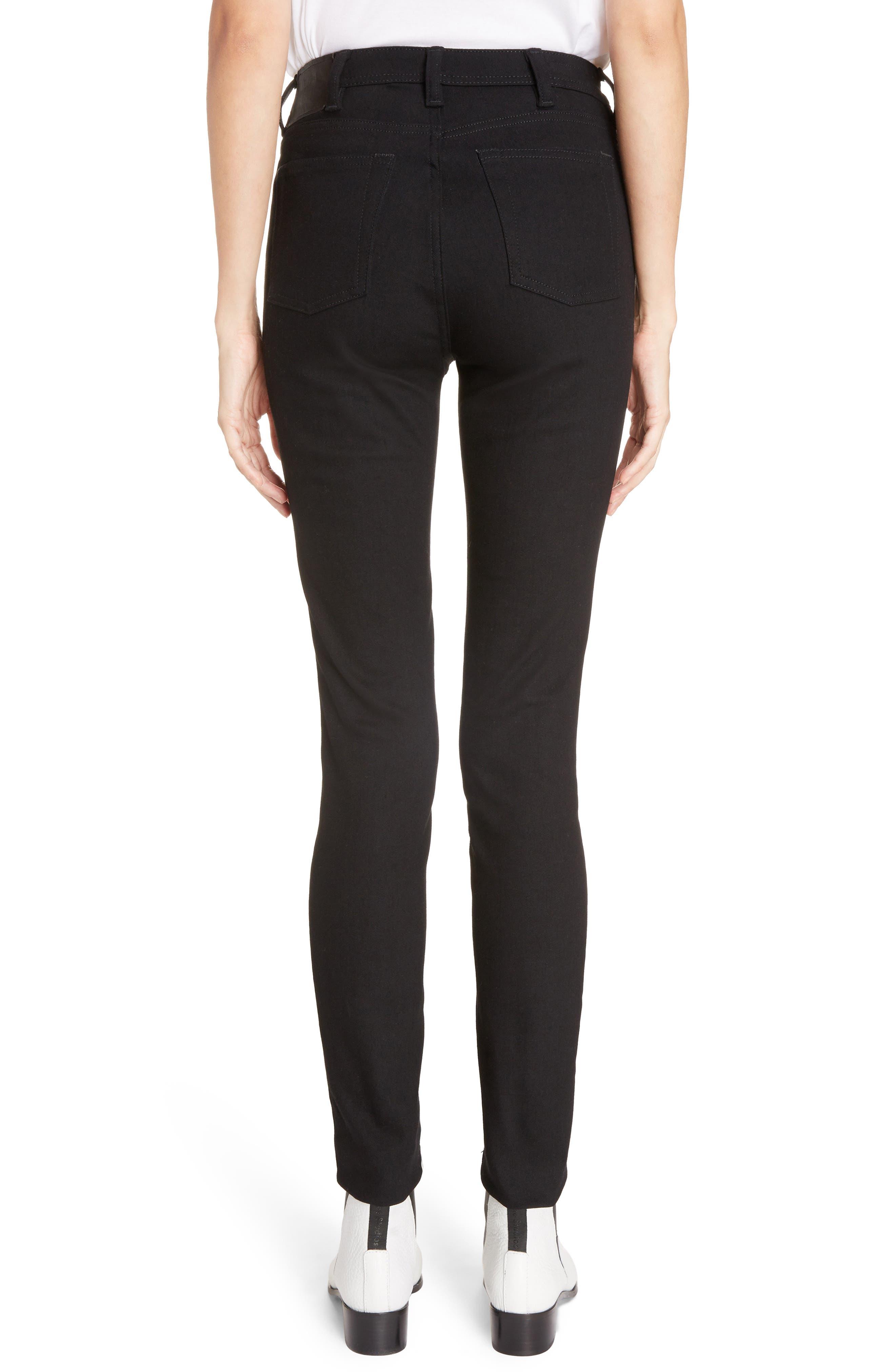 Peg High Waist Skinny Jeans,                             Alternate thumbnail 2, color,                             BLACK