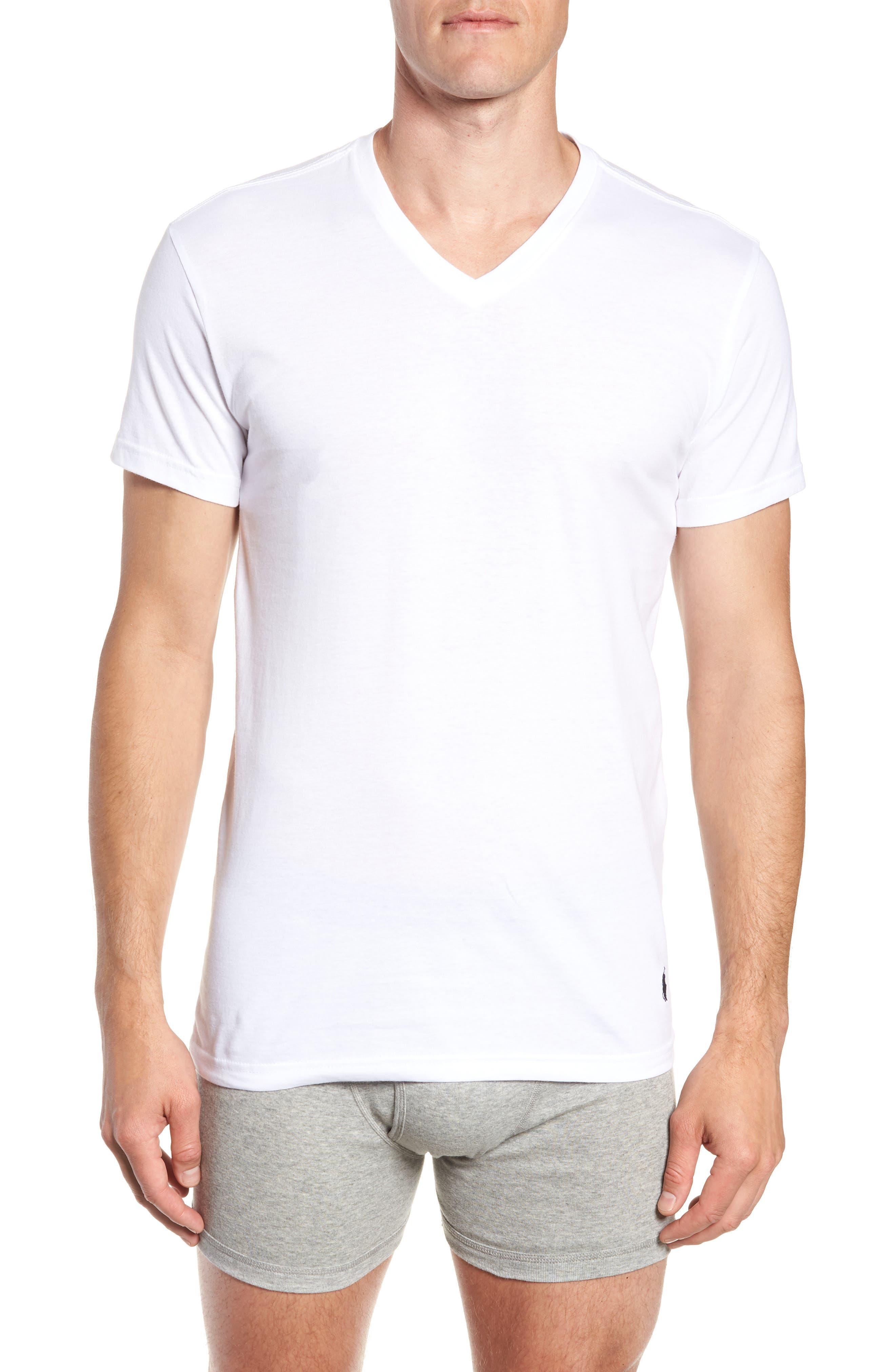 Polo Ralph Lauren 3-Pack Slim Fit V-Neck T-Shirts,                             Alternate thumbnail 2, color,                             WHITE