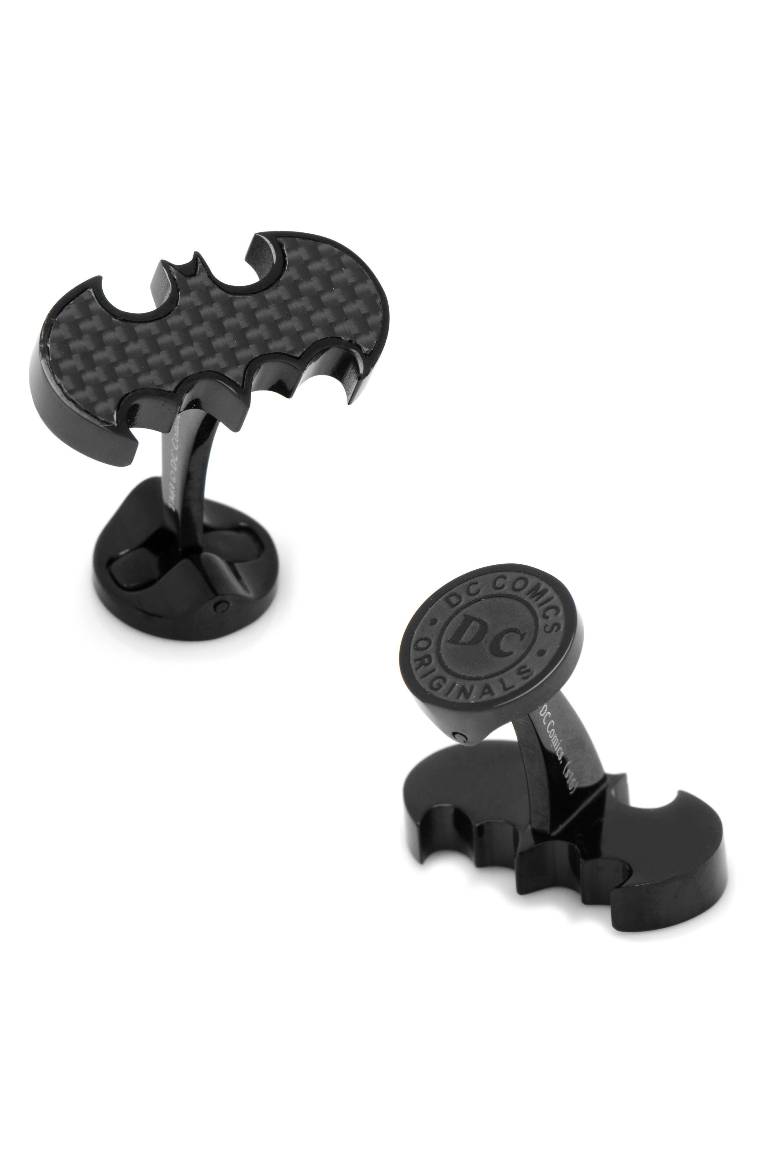 Batman Cuff Links,                             Main thumbnail 1, color,                             BLACK