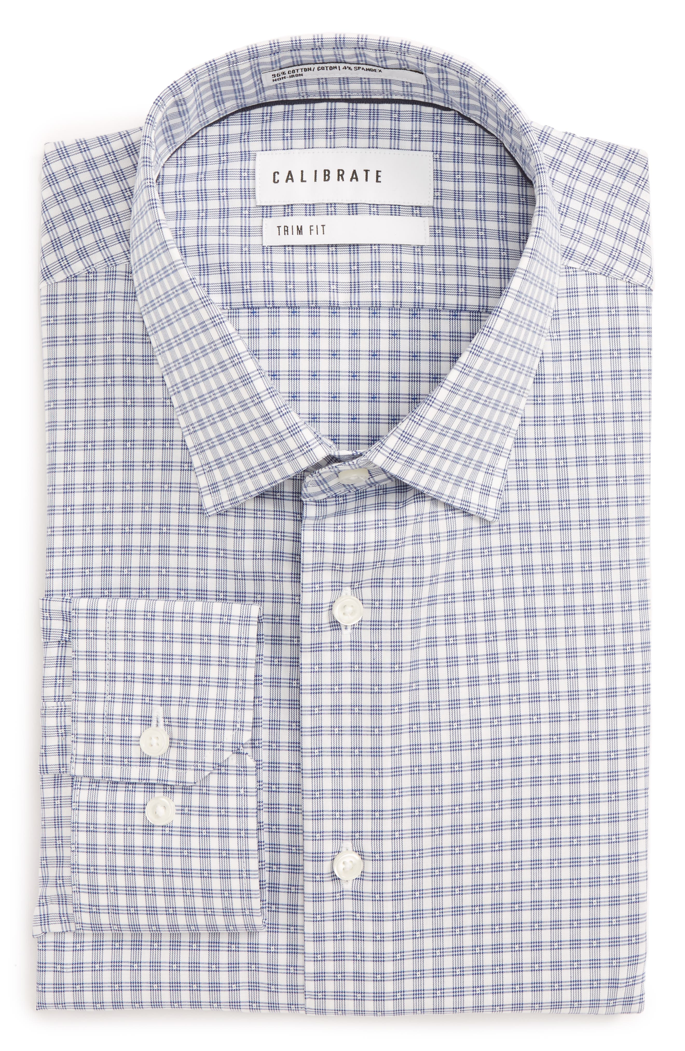 Trim Fit Non-Iron Stretch Check Dress Shirt,                         Main,                         color,