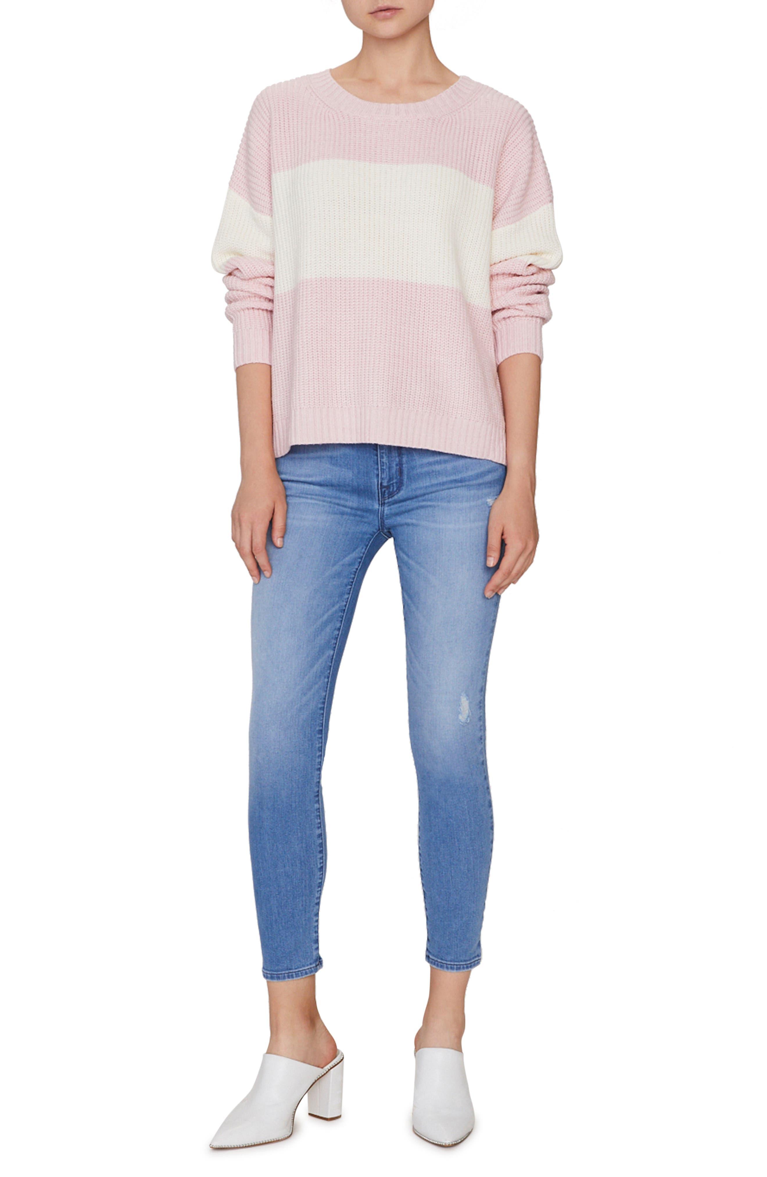 SANCTUARY,                             Billie Colorblock Shaker Sweater,                             Alternate thumbnail 5, color,                             HEATHER CHERRYBLOSSOM/ NATURAL