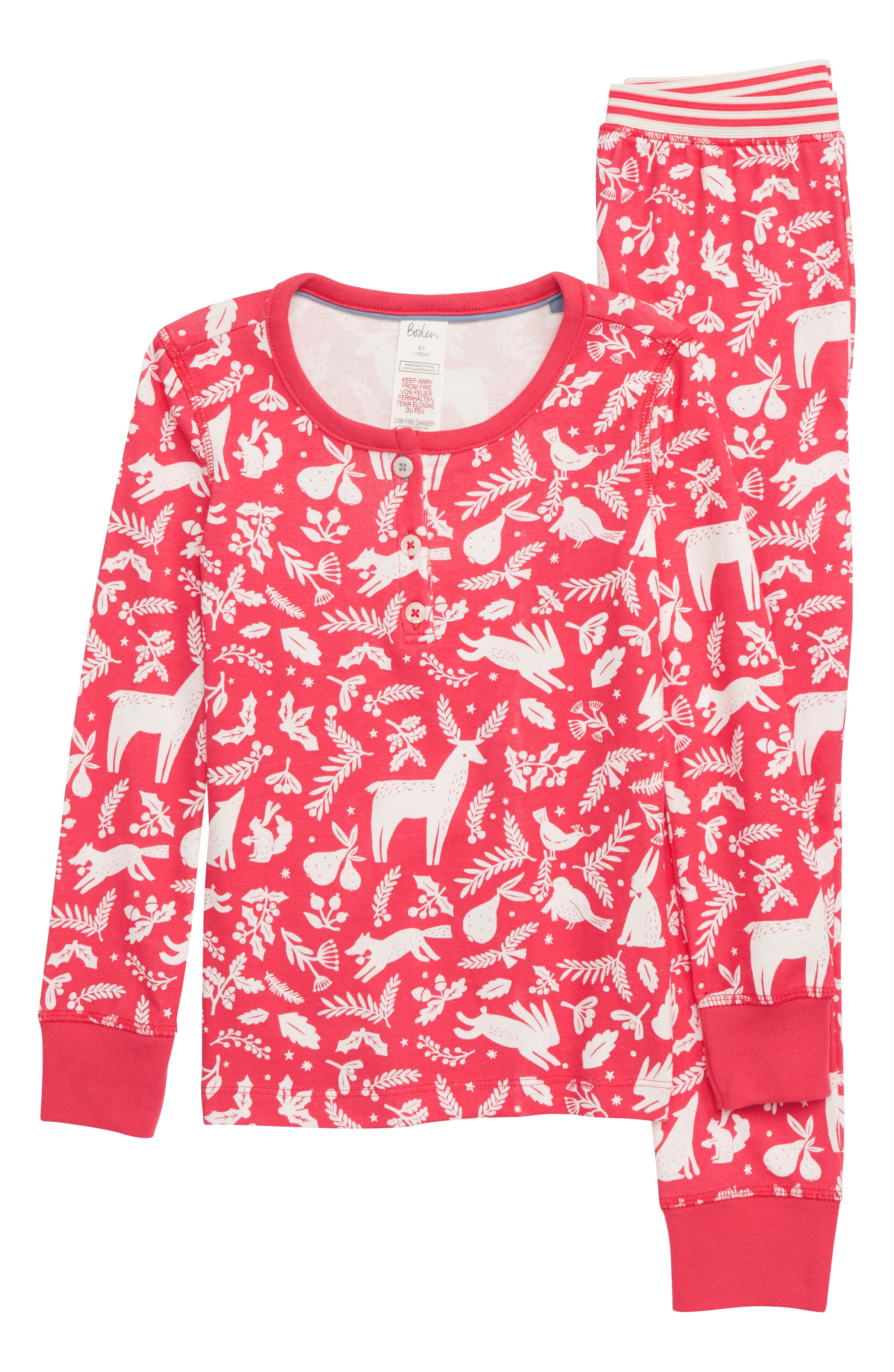 Girls Mini Boden Fitted TwoPiece Pajamas Size 10Y  Pink