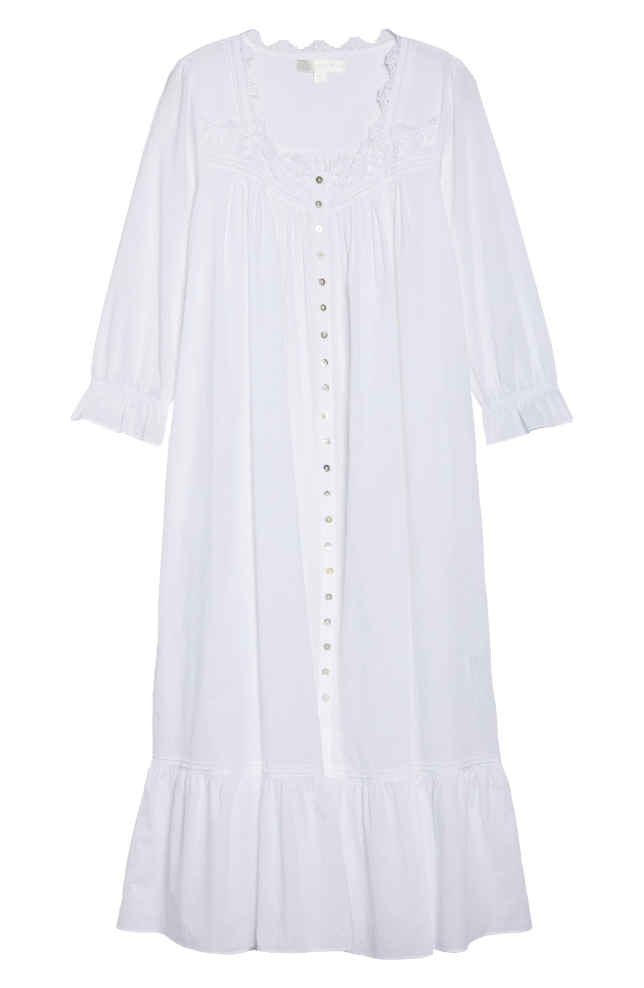 Button Front Cotton Nightgown,                             Alternate thumbnail 6, color,                             100