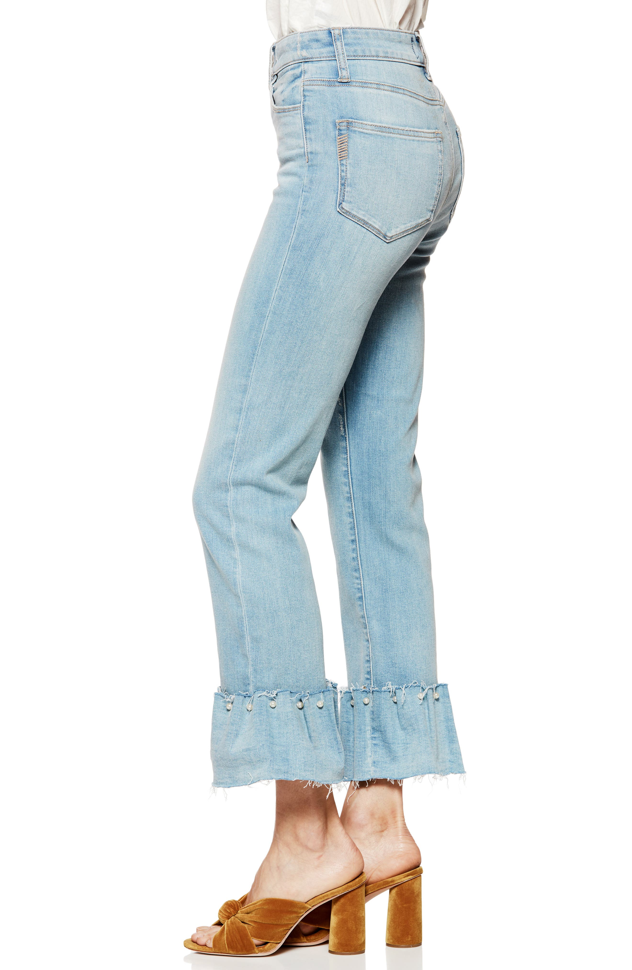 Transcend Vintage - Hoxton Embellished Ruffle High Waist Jeans,                             Alternate thumbnail 3, color,                             PALMS