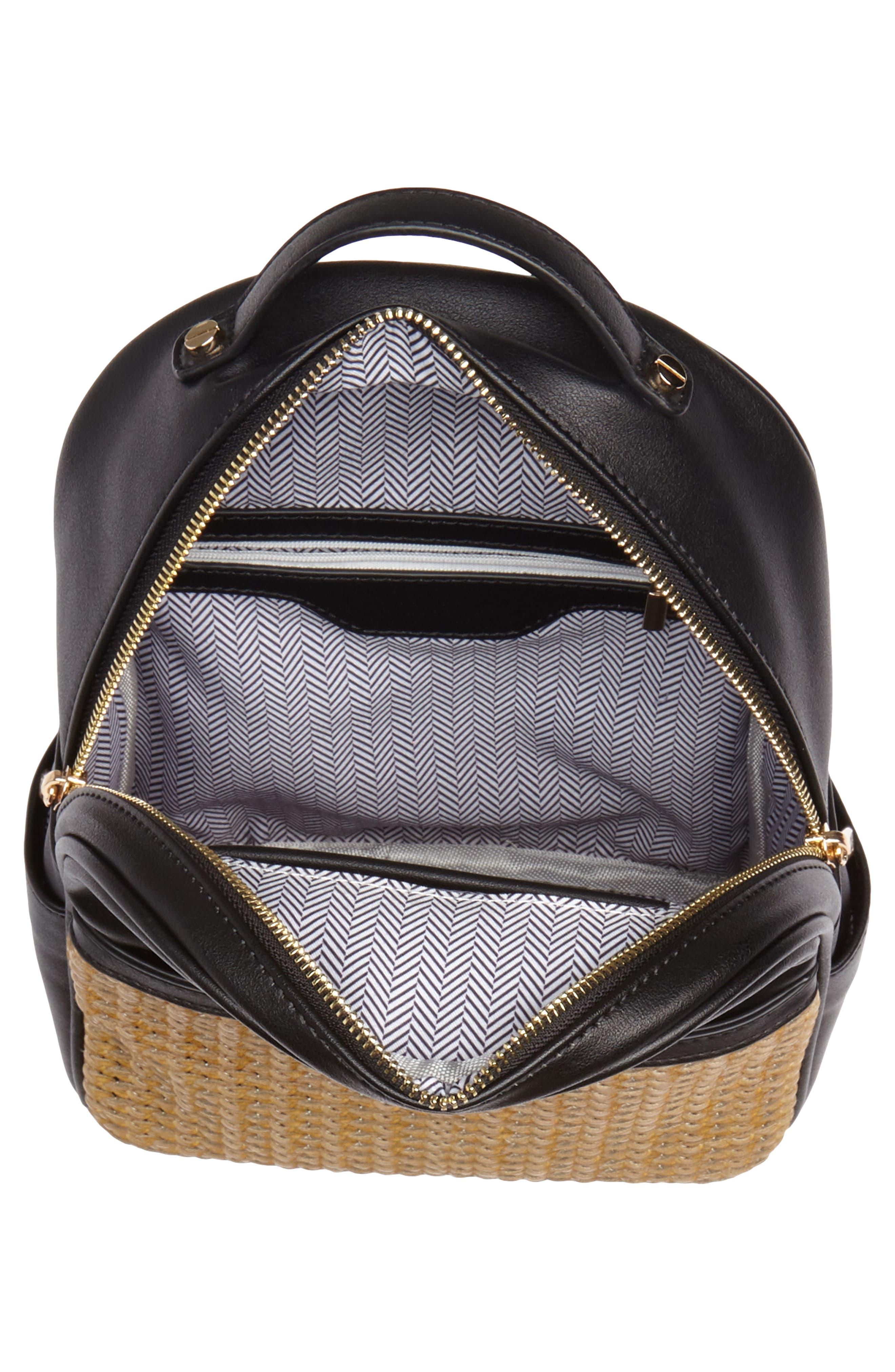 Mali + Lili Harper Lili Basket Weave Backpack,                             Alternate thumbnail 4, color,                             BLACK