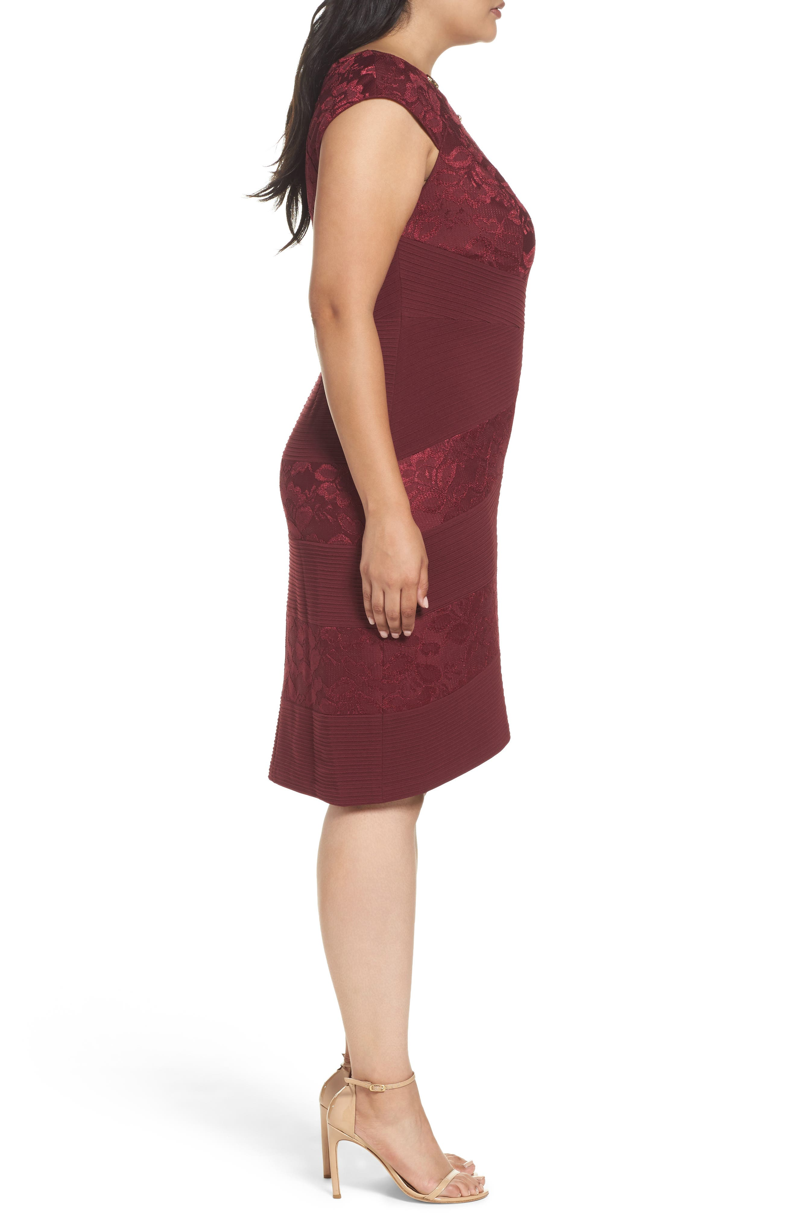 Cutout Neck Sheath Dress,                             Alternate thumbnail 3, color,                             603