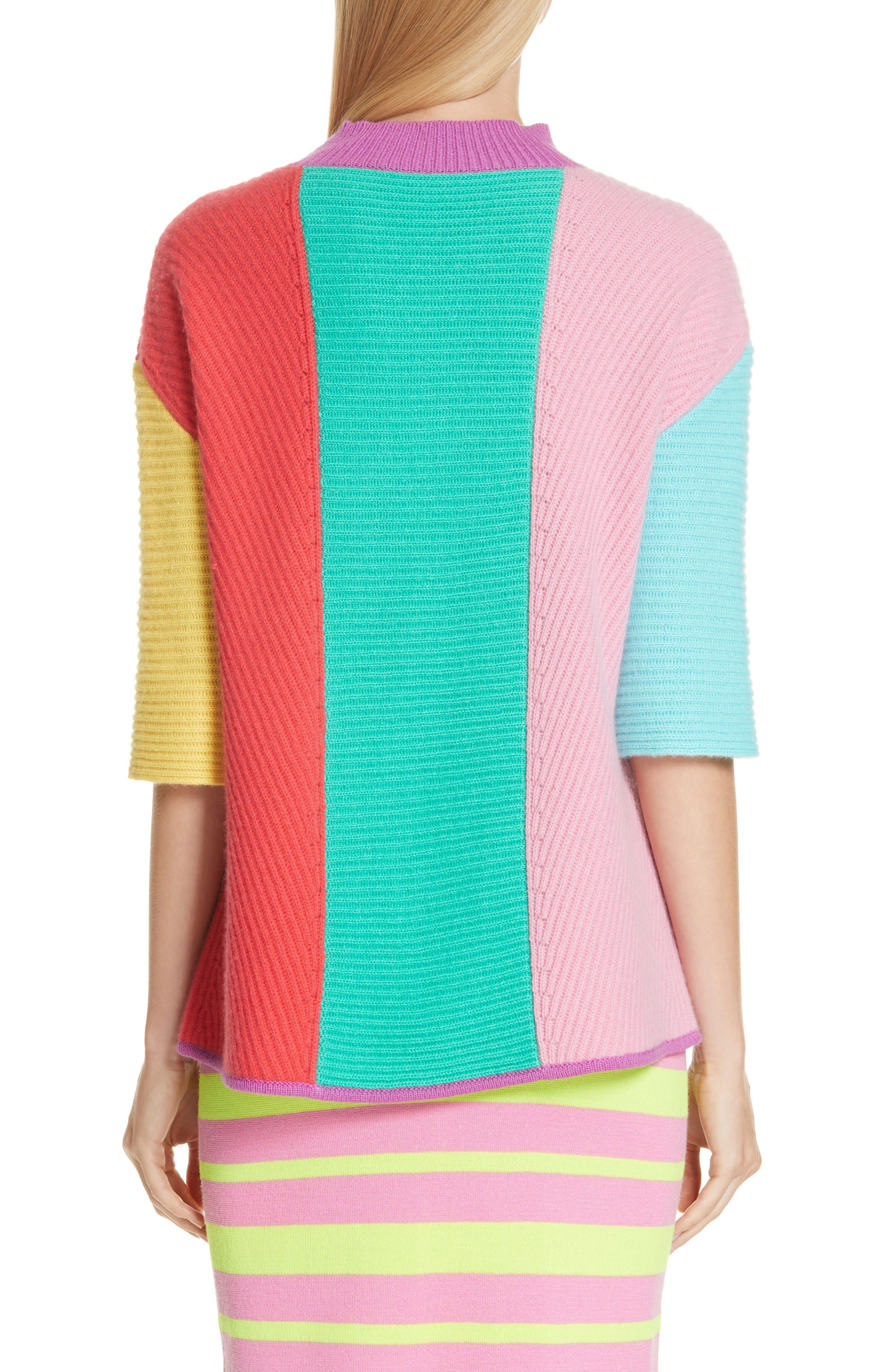 Stripe Short Sleeve Cashmere Sweater,                             Alternate thumbnail 2, color,                             MULTI