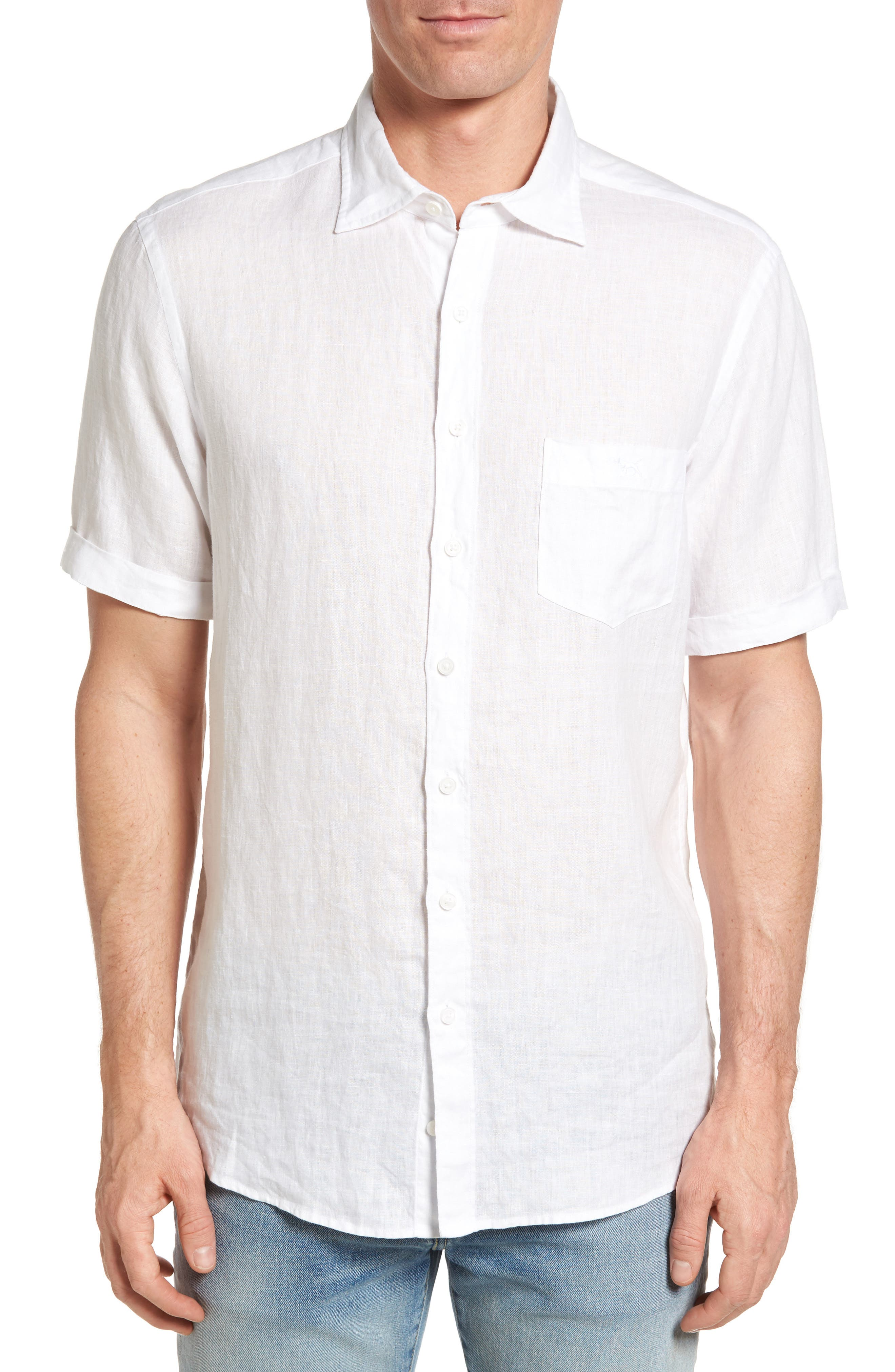 Abbotleight Linen Sport Shirt,                             Main thumbnail 1, color,                             SNOW