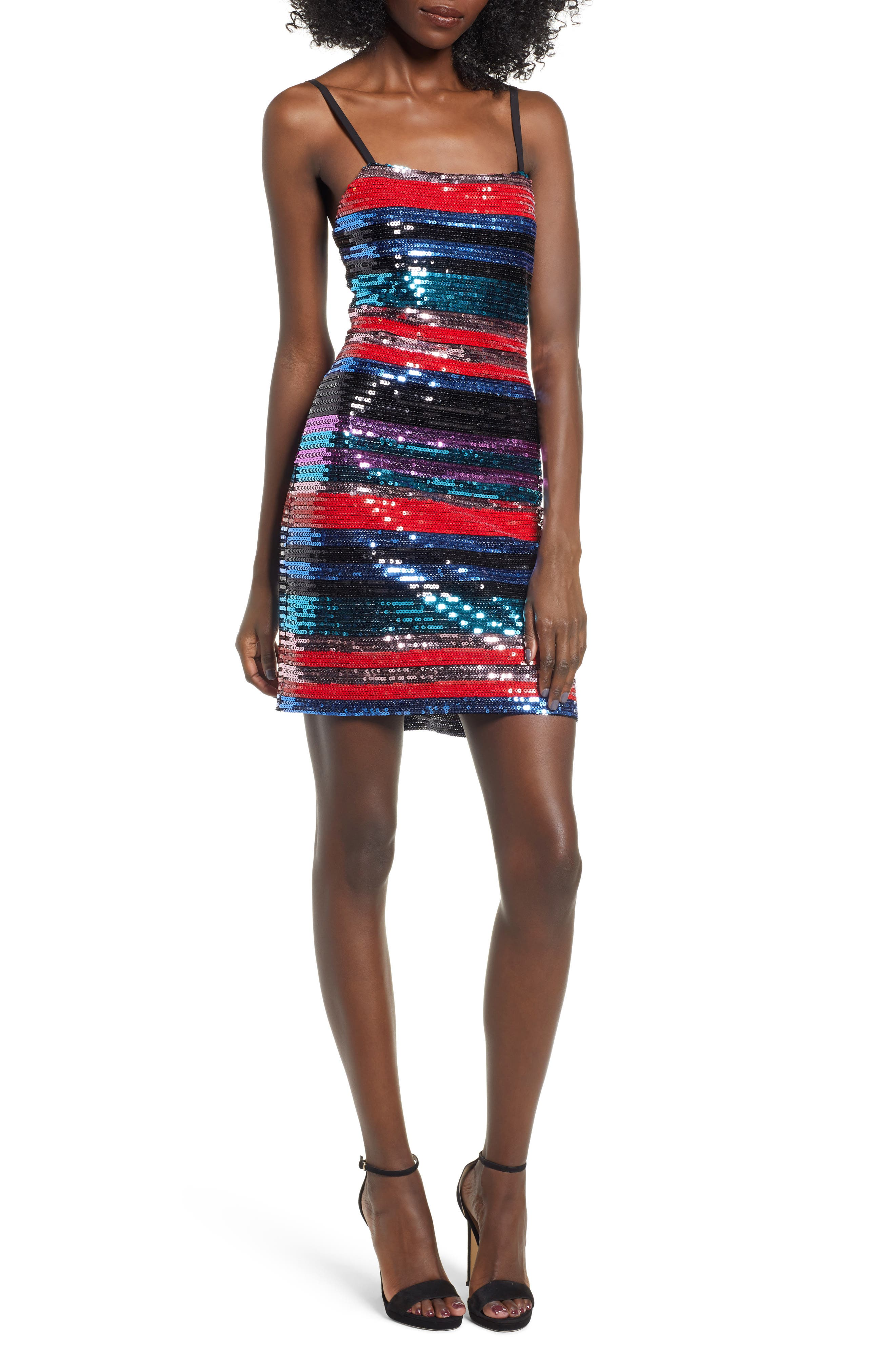 Manfi Lace-Up Back Sequin Stripe Minidress,                             Main thumbnail 1, color,                             RED SEQUIN STRIPE