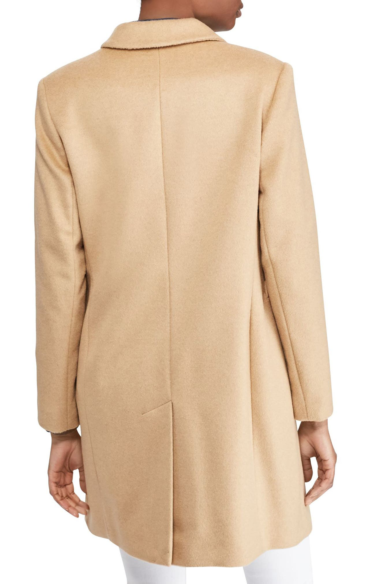 Wool Blend Reefer Coat,                             Alternate thumbnail 2, color,                             CAMEL