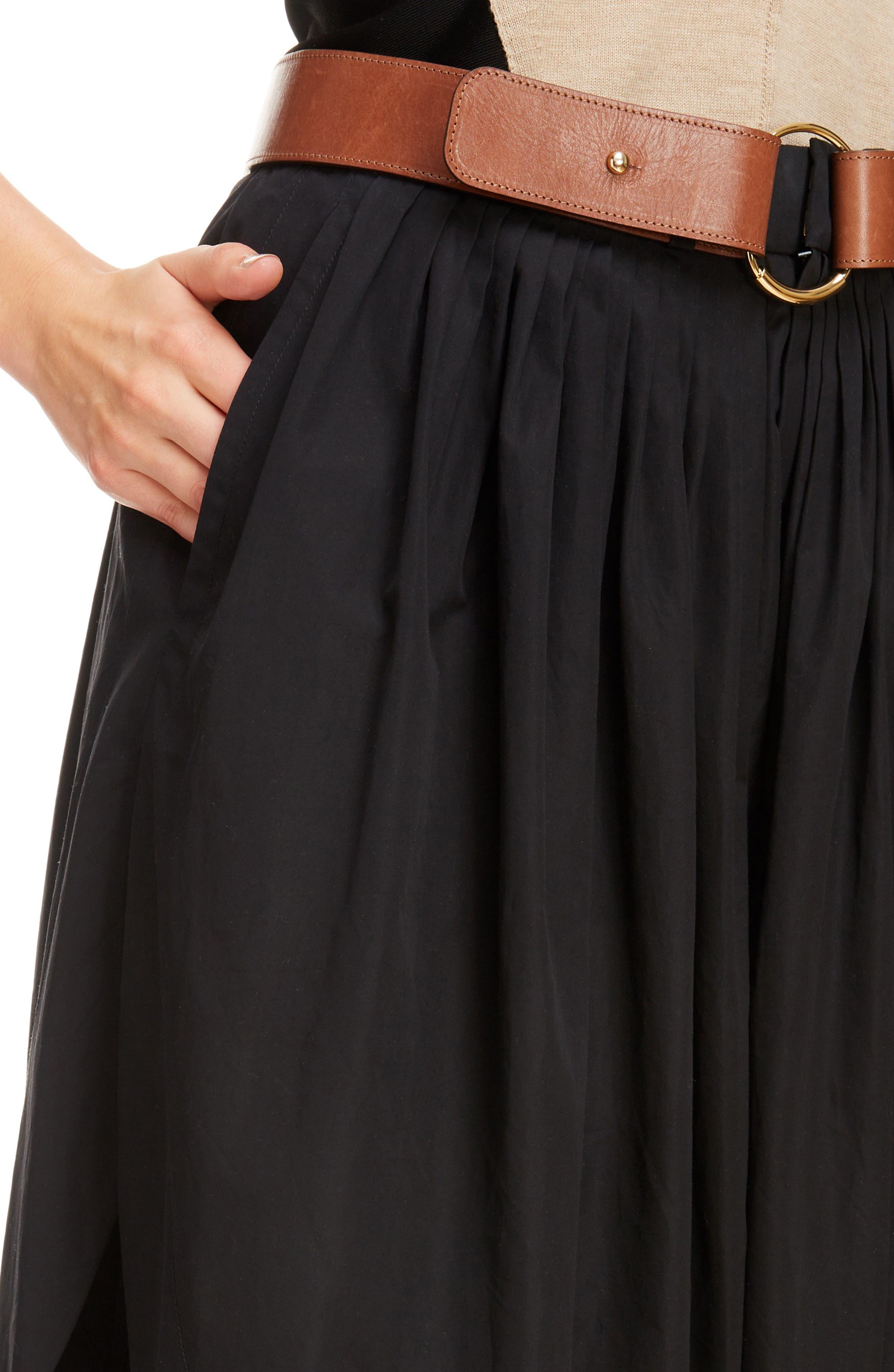 Side Slit Belted Poplin Pants,                             Alternate thumbnail 4, color,                             BLACK