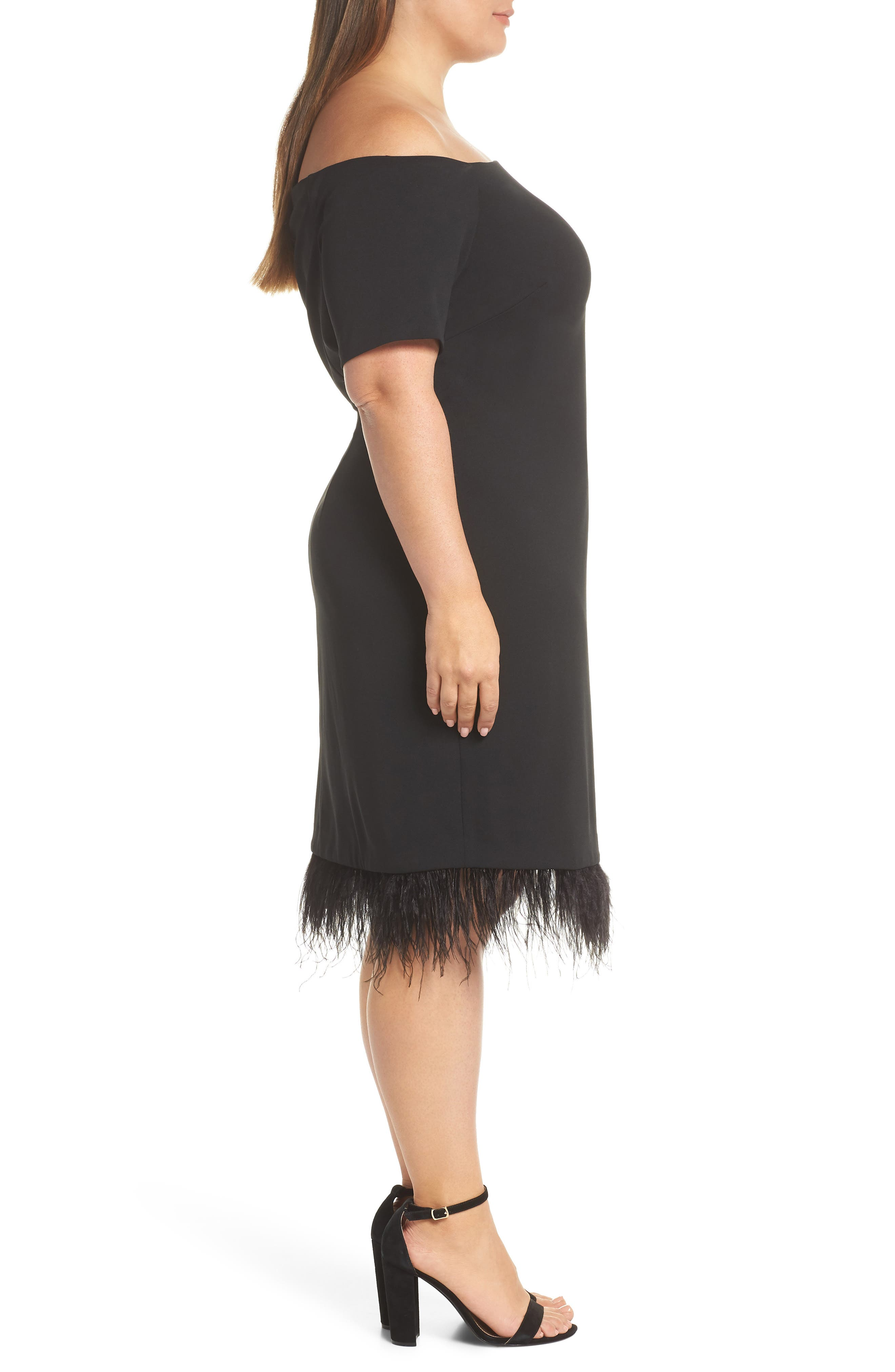 Feather Trim Sheath Dress,                             Alternate thumbnail 3, color,                             001