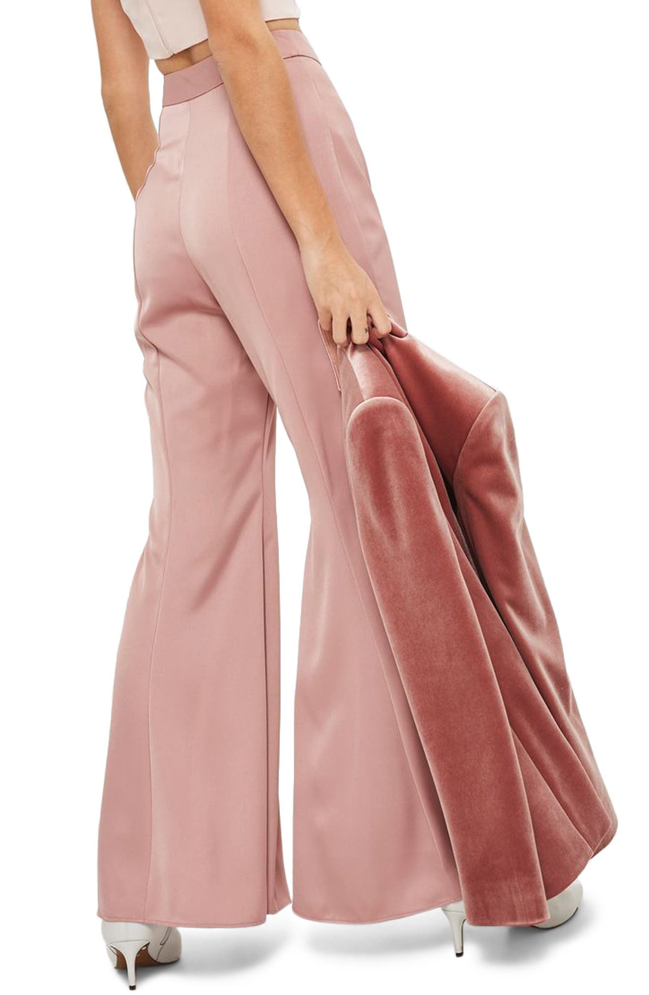 Satin Super Flare Trousers,                             Alternate thumbnail 2, color,