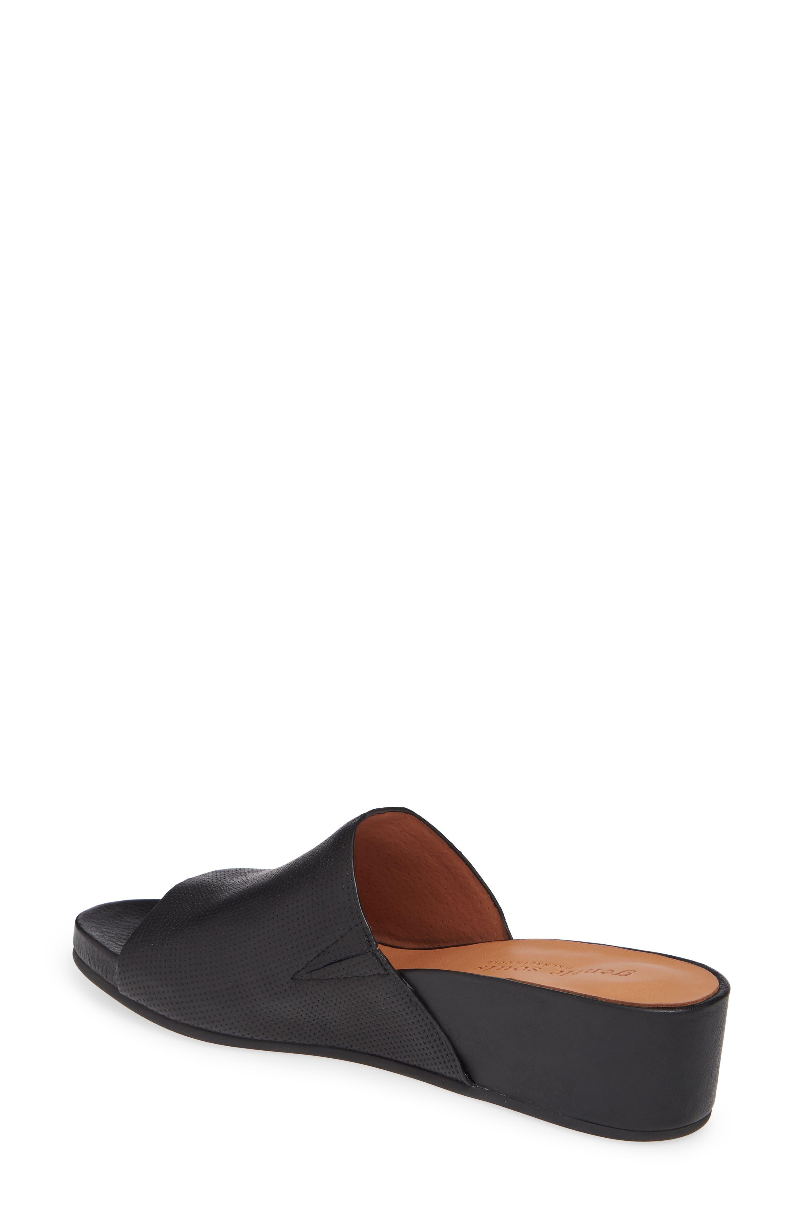 Gisele Wedge Slide Sandal,                             Alternate thumbnail 2, color,                             BLACK LEATHER