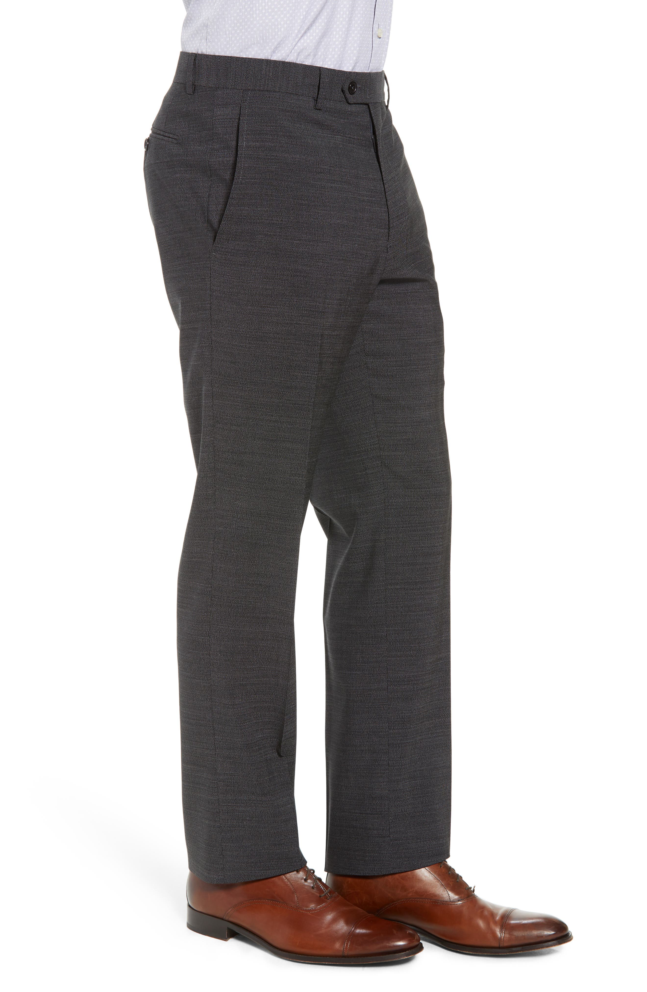 Flat Front Solid Wool Trousers,                             Alternate thumbnail 3, color,                             020
