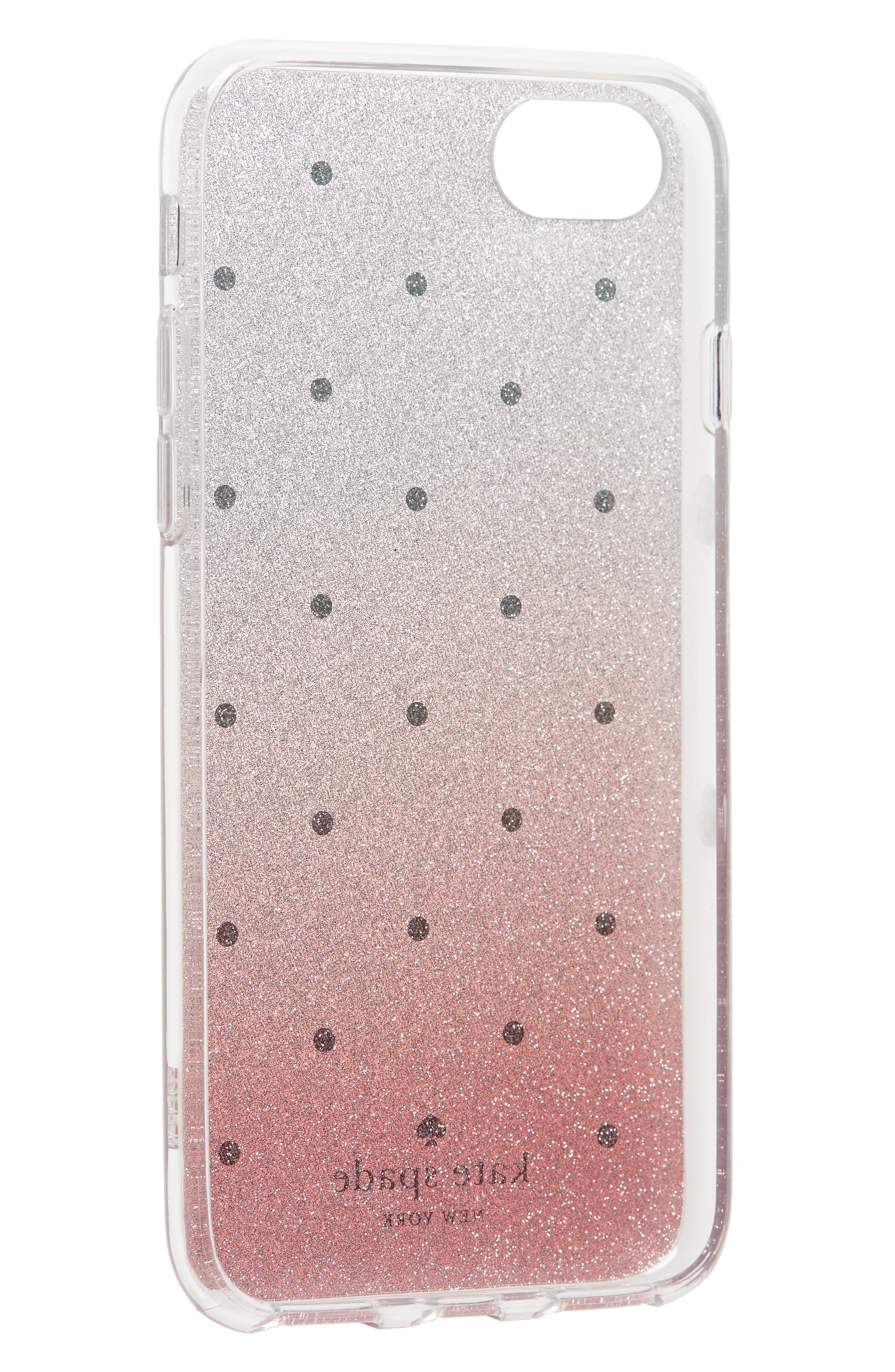 glitter ombré iPhone 7/8 & 7/8 Plus case,                             Alternate thumbnail 2, color,                             PINK MULTI