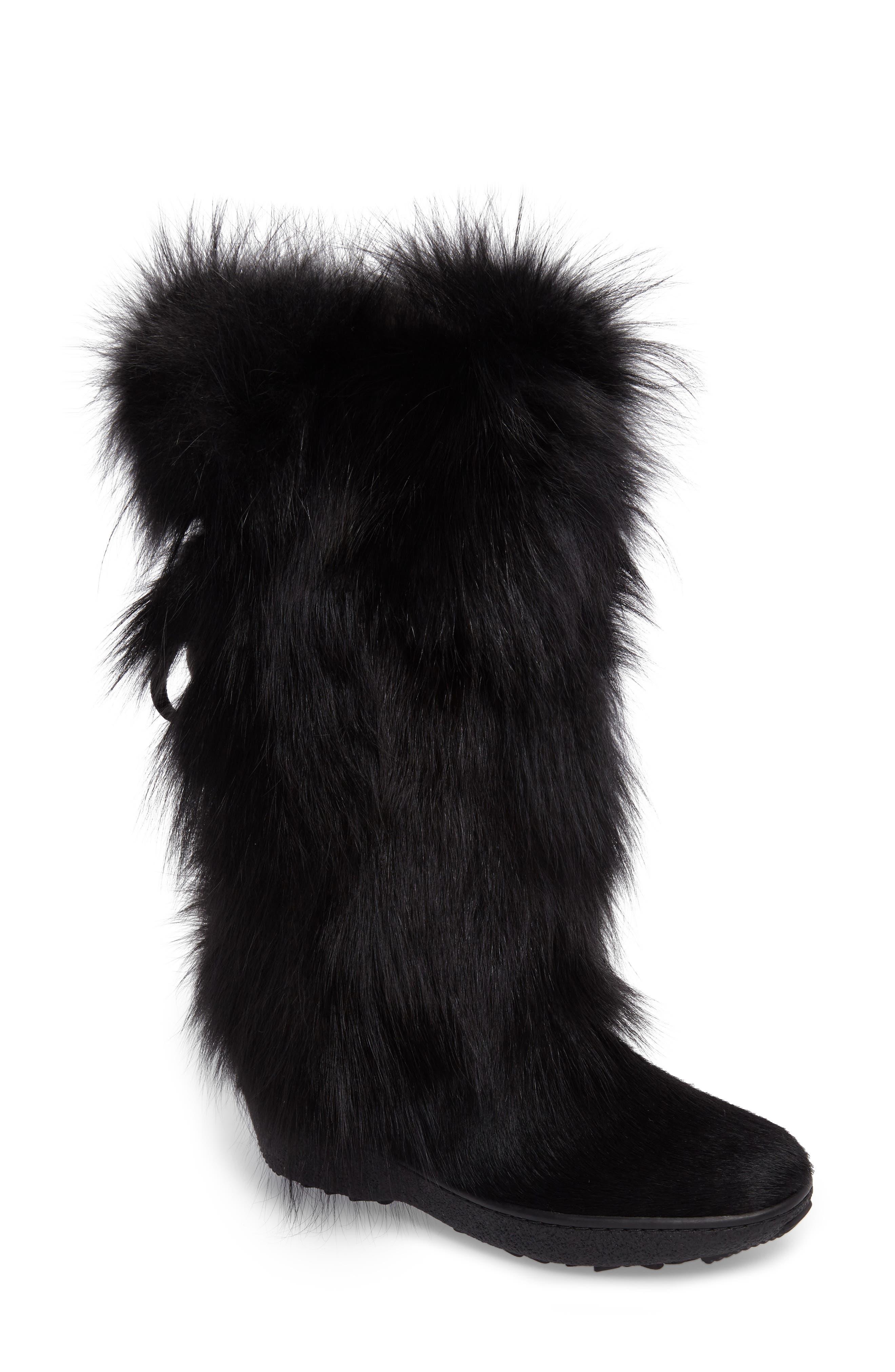 Kim Genuine Fox Fur Boot,                             Main thumbnail 1, color,                             001
