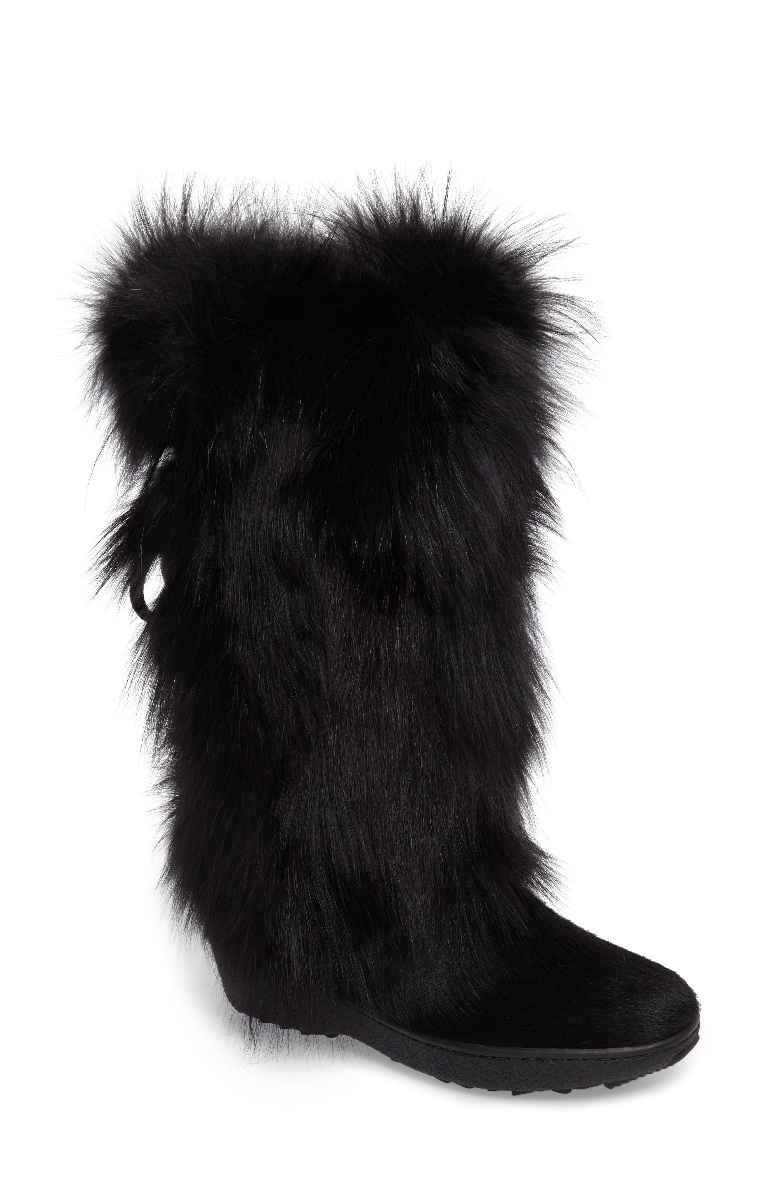 Kim Genuine Fox Fur Boot, Main, color, 001