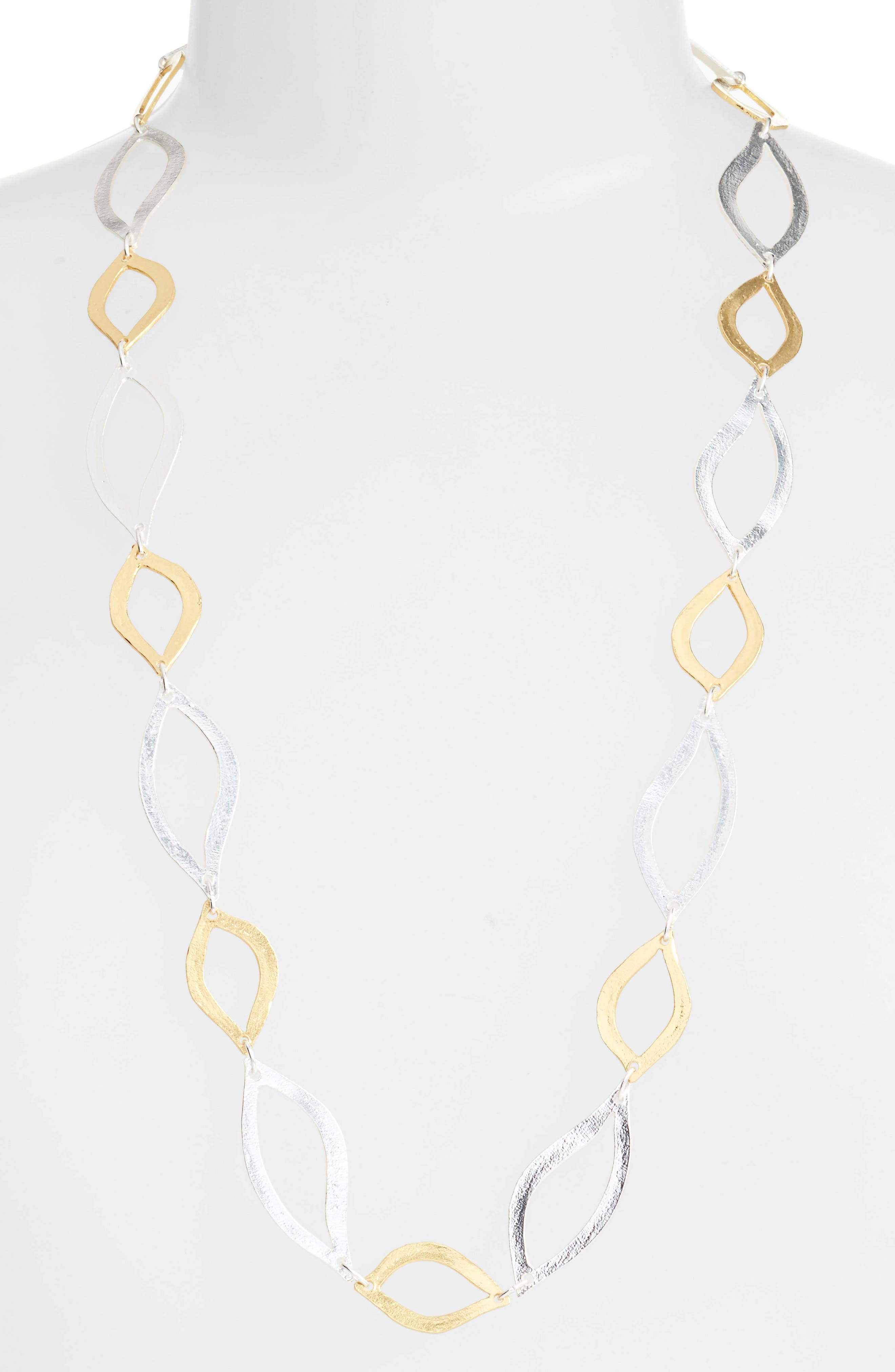 Long Link Necklace,                             Main thumbnail 1, color,                             SILVER/GOLD MIX